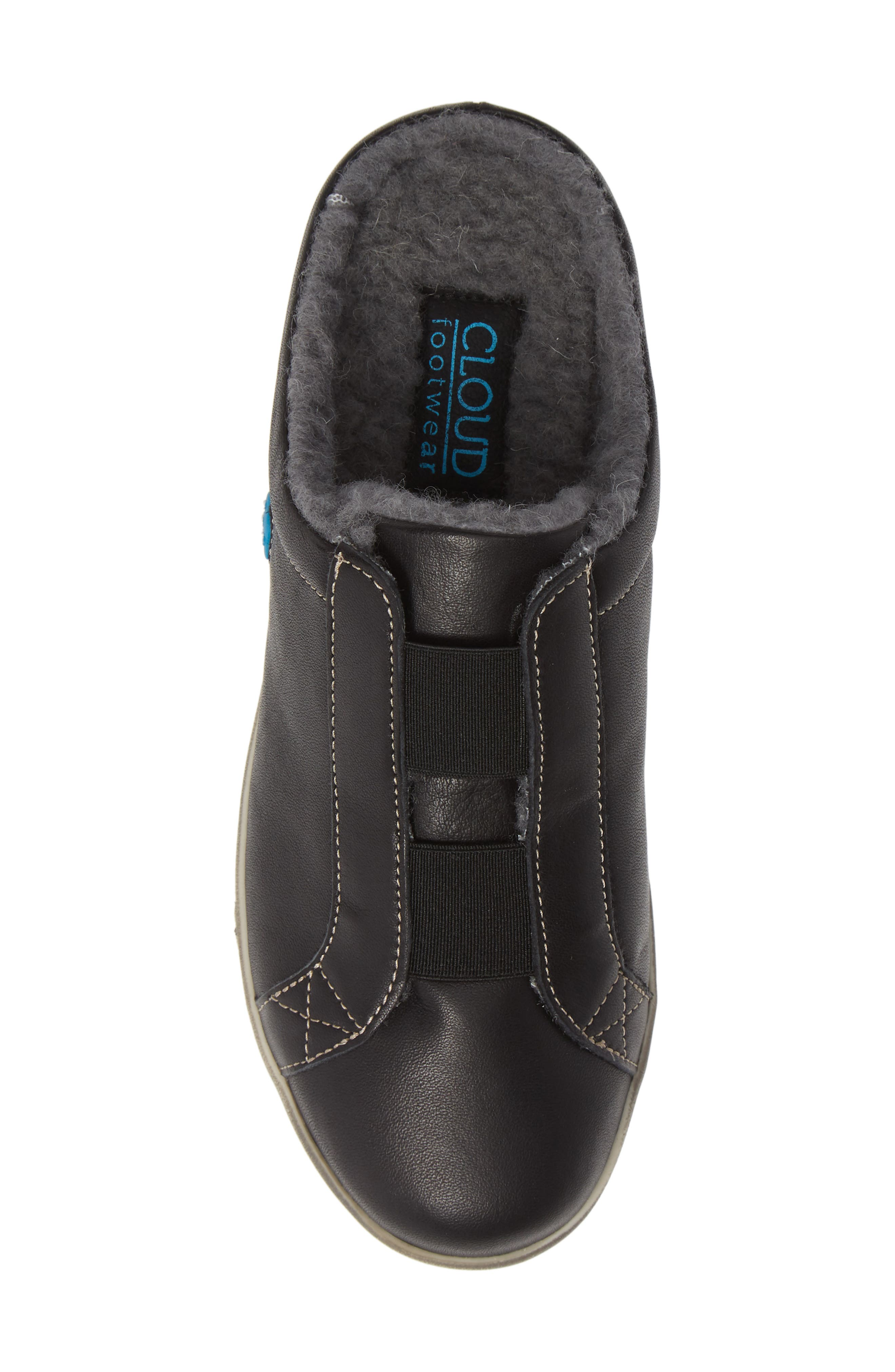 Alexis Wool Lined Backless Sneaker,                             Alternate thumbnail 5, color,                             BLACK LEATHER