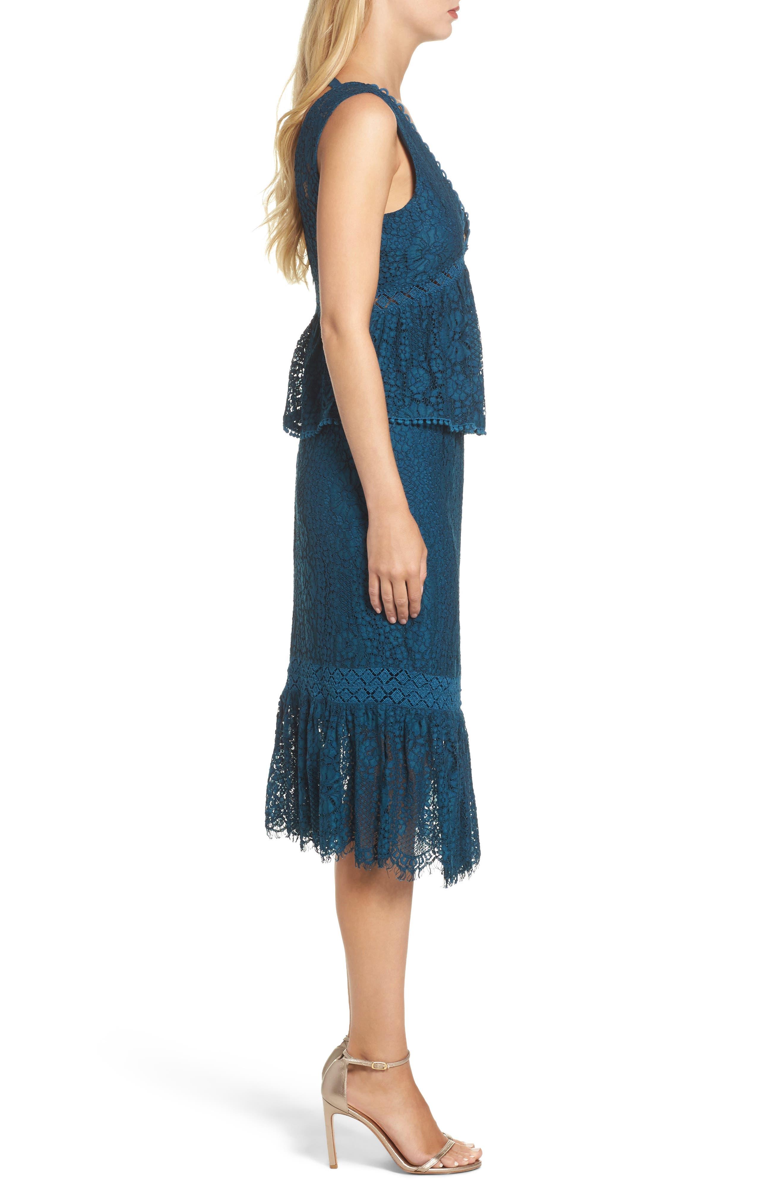 Emilia Lace Peplum Midi Dress,                             Alternate thumbnail 3, color,                             404
