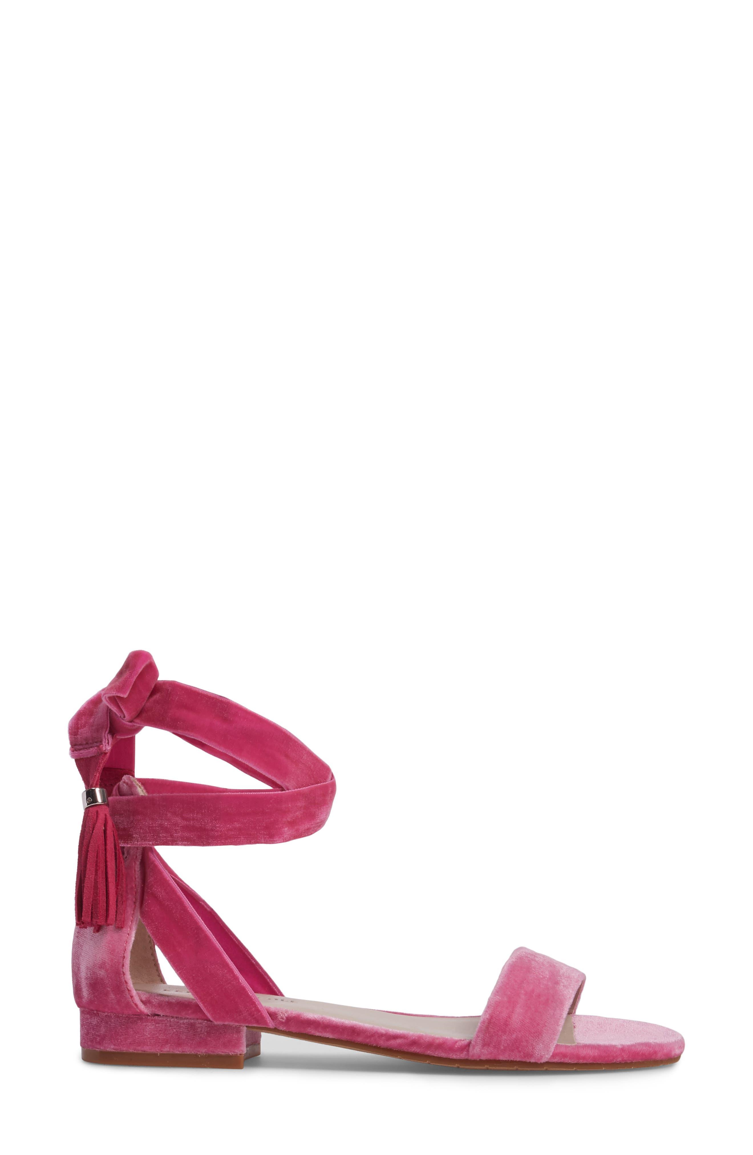 Valen Tassel Lace-Up Sandal,                             Alternate thumbnail 3, color,                             FUCHSIA VELVET