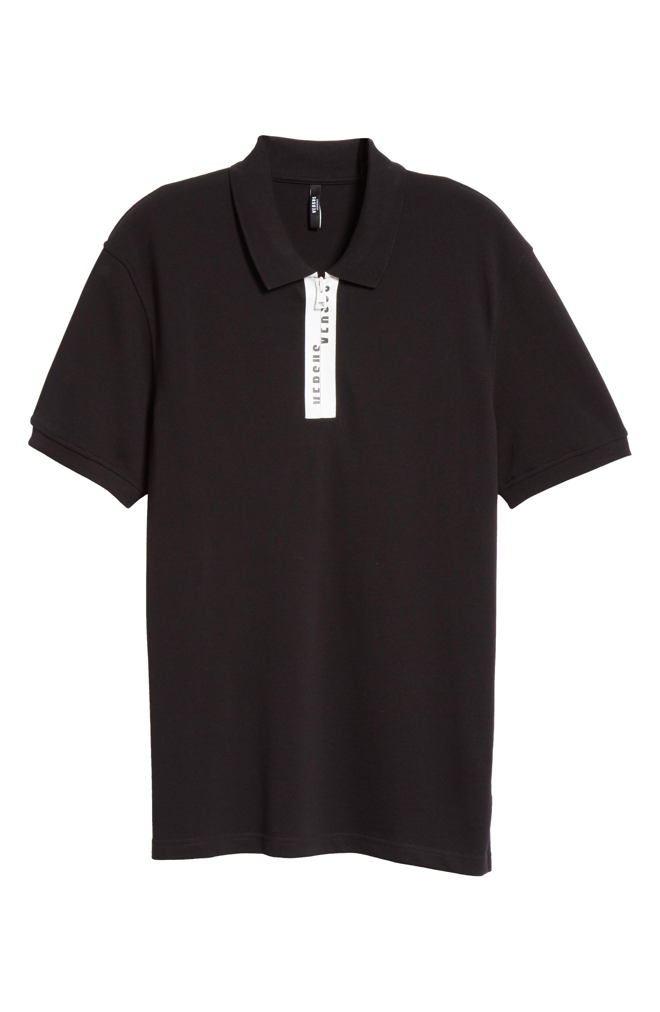 Zip Polo,                             Alternate thumbnail 6, color,                             B1008 BLACK