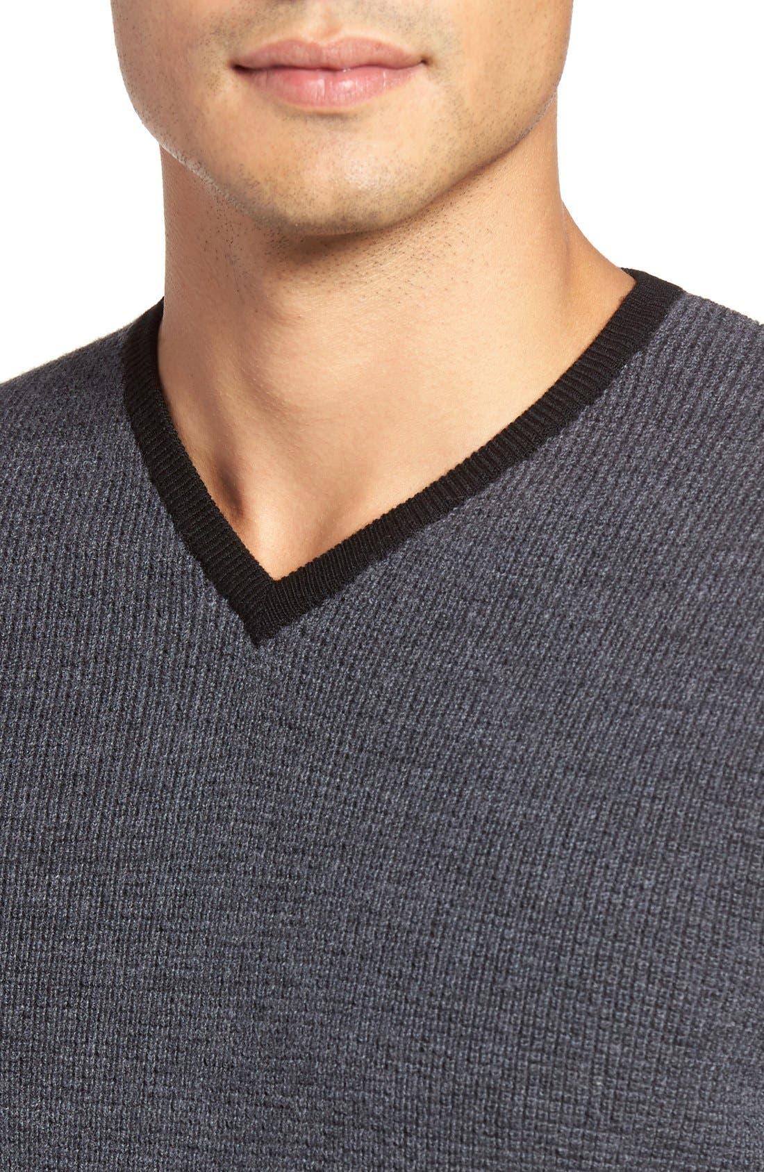 ZACHARY PRELL,                             V-Neck Colorblock Merino Wool Pullover,                             Alternate thumbnail 3, color,                             025