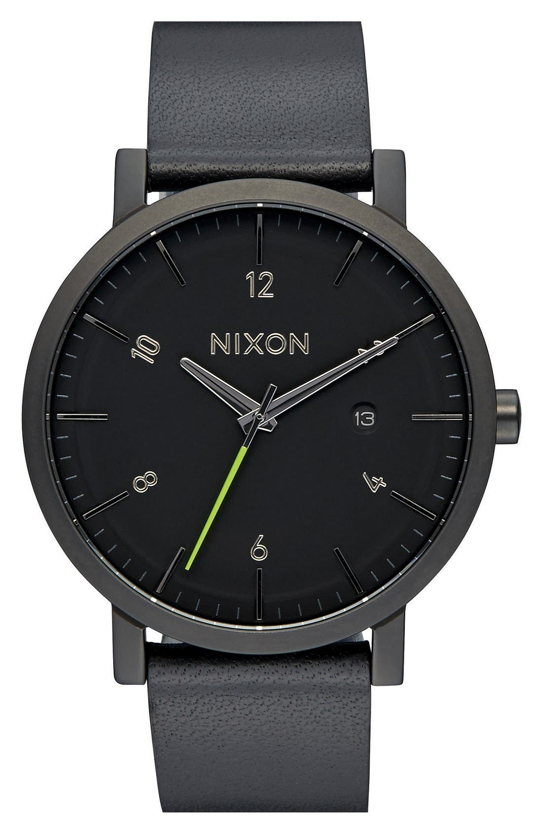 'Rollo' Leather Strap Watch, 42mm,                         Main,                         color, BLACK