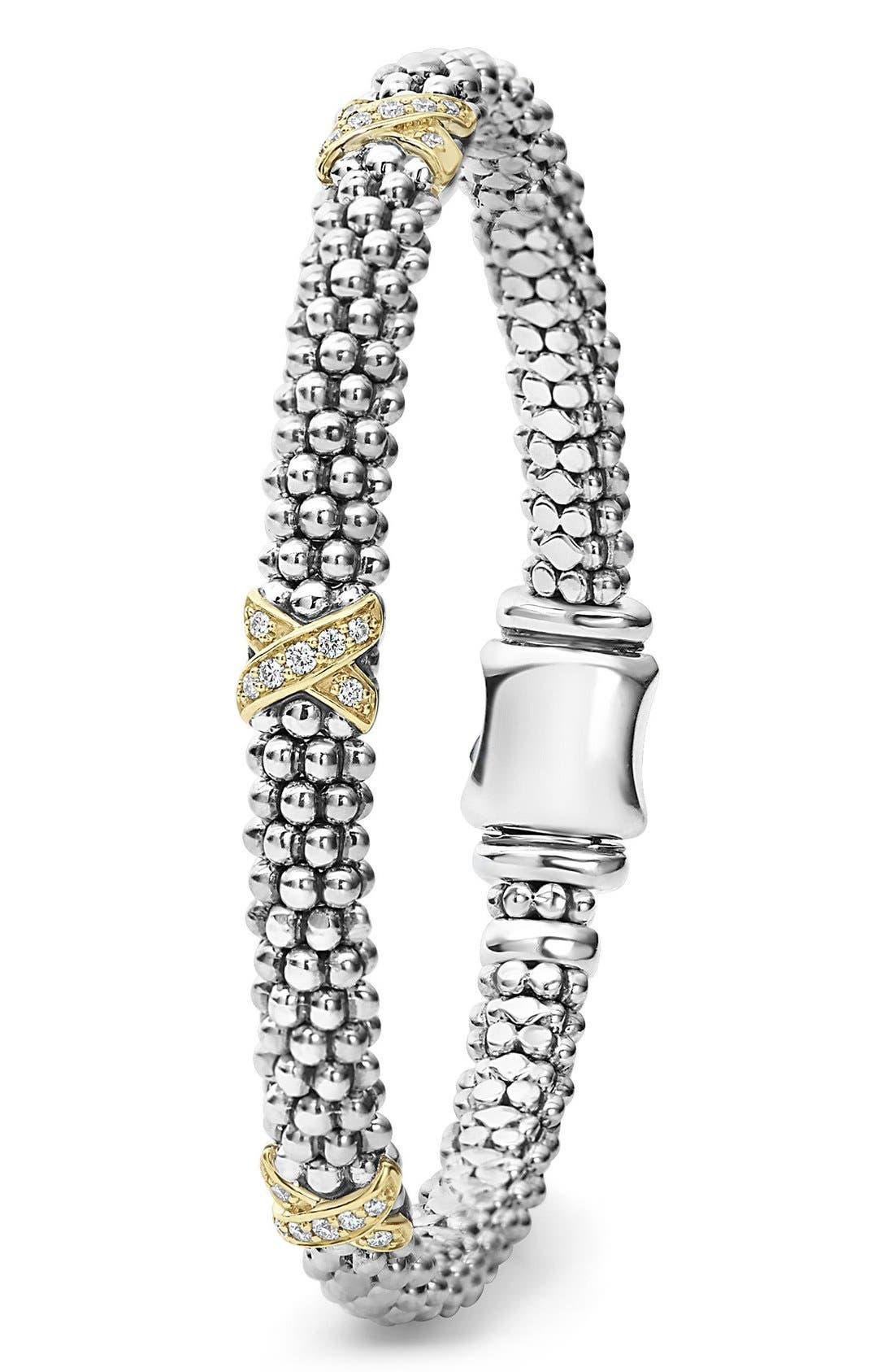 'Signature Caviar' Diamond Rope Bracelet,                             Alternate thumbnail 5, color,                             SILVER/ GOLD