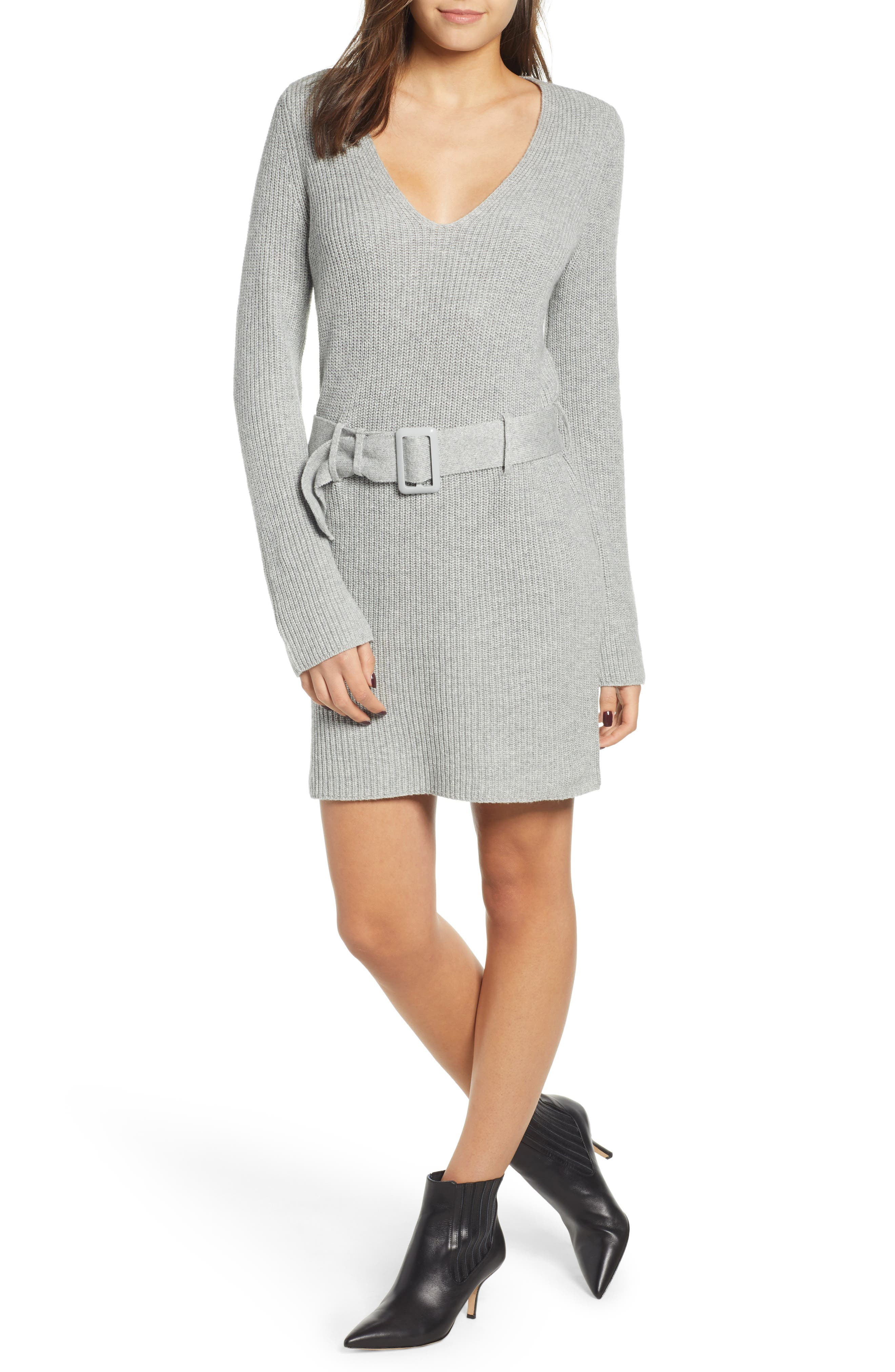 Leith Belted Sweater Dress, Grey