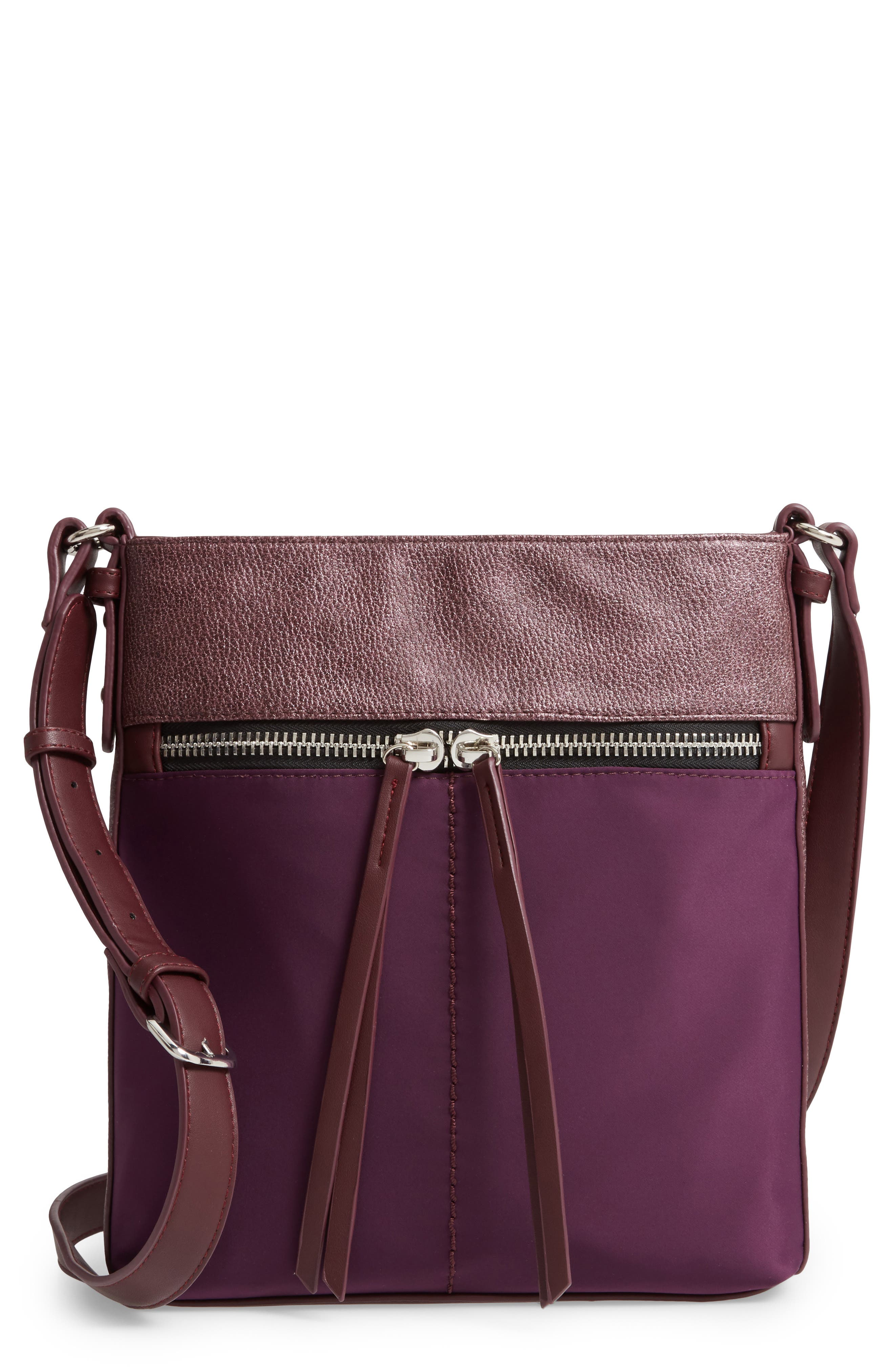 SONDRA ROBERTS Colorblock Faux Leather Crossbody Bag - Purple