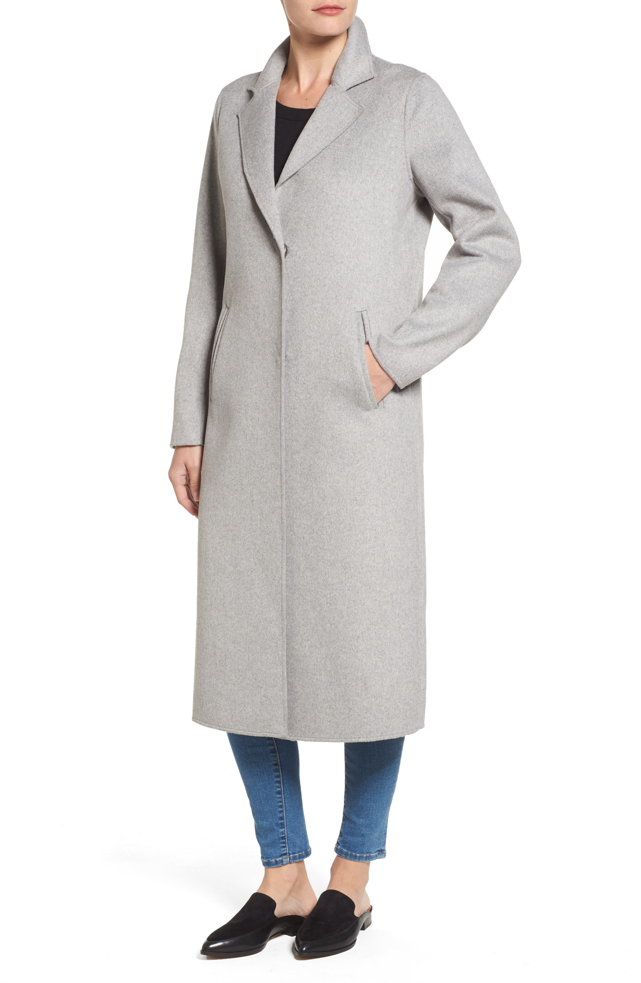 Double Face Wool Blend Long Coat,                             Alternate thumbnail 4, color,                             033