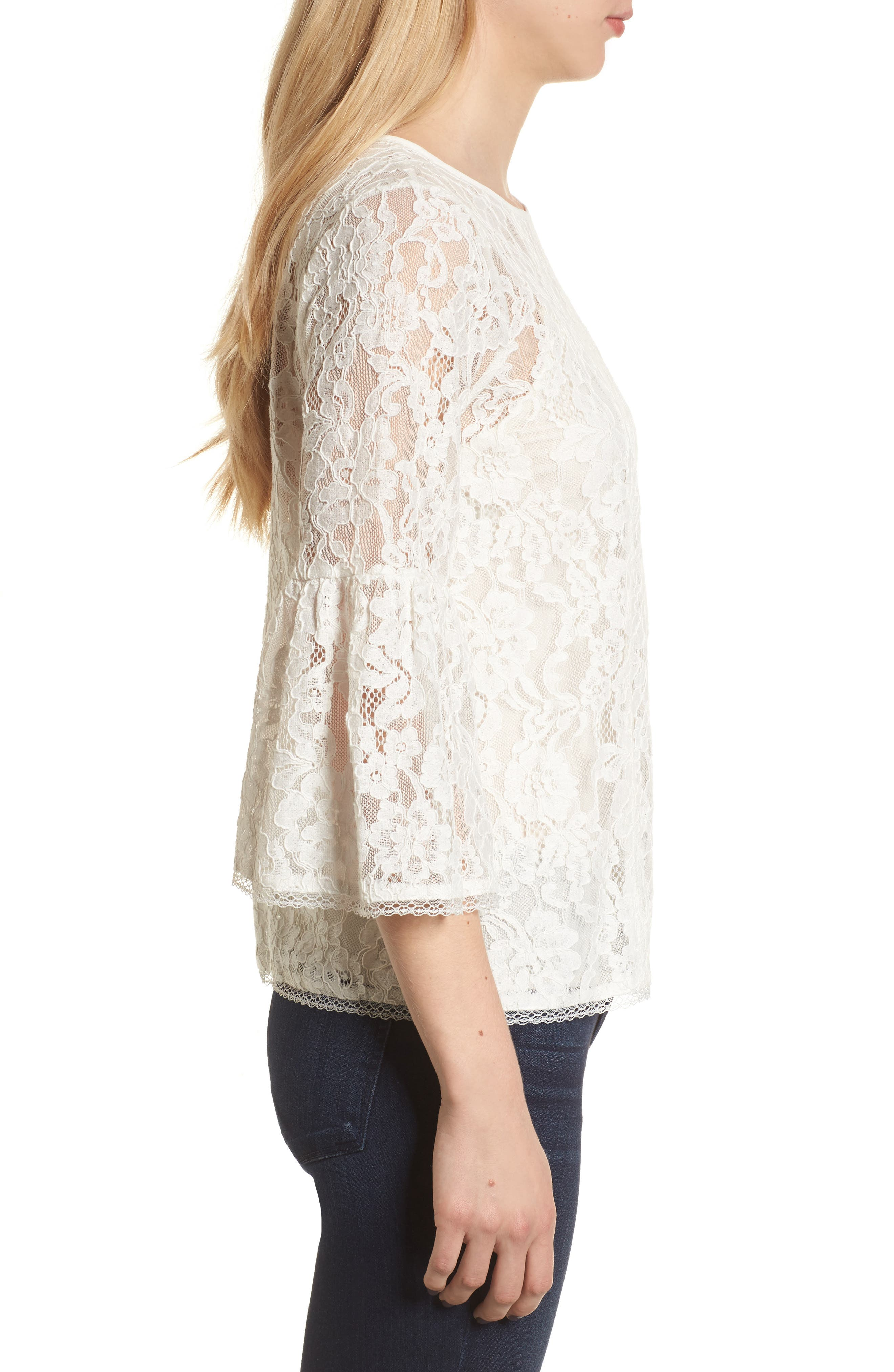Bell Sleeve Lace Top,                             Alternate thumbnail 9, color,