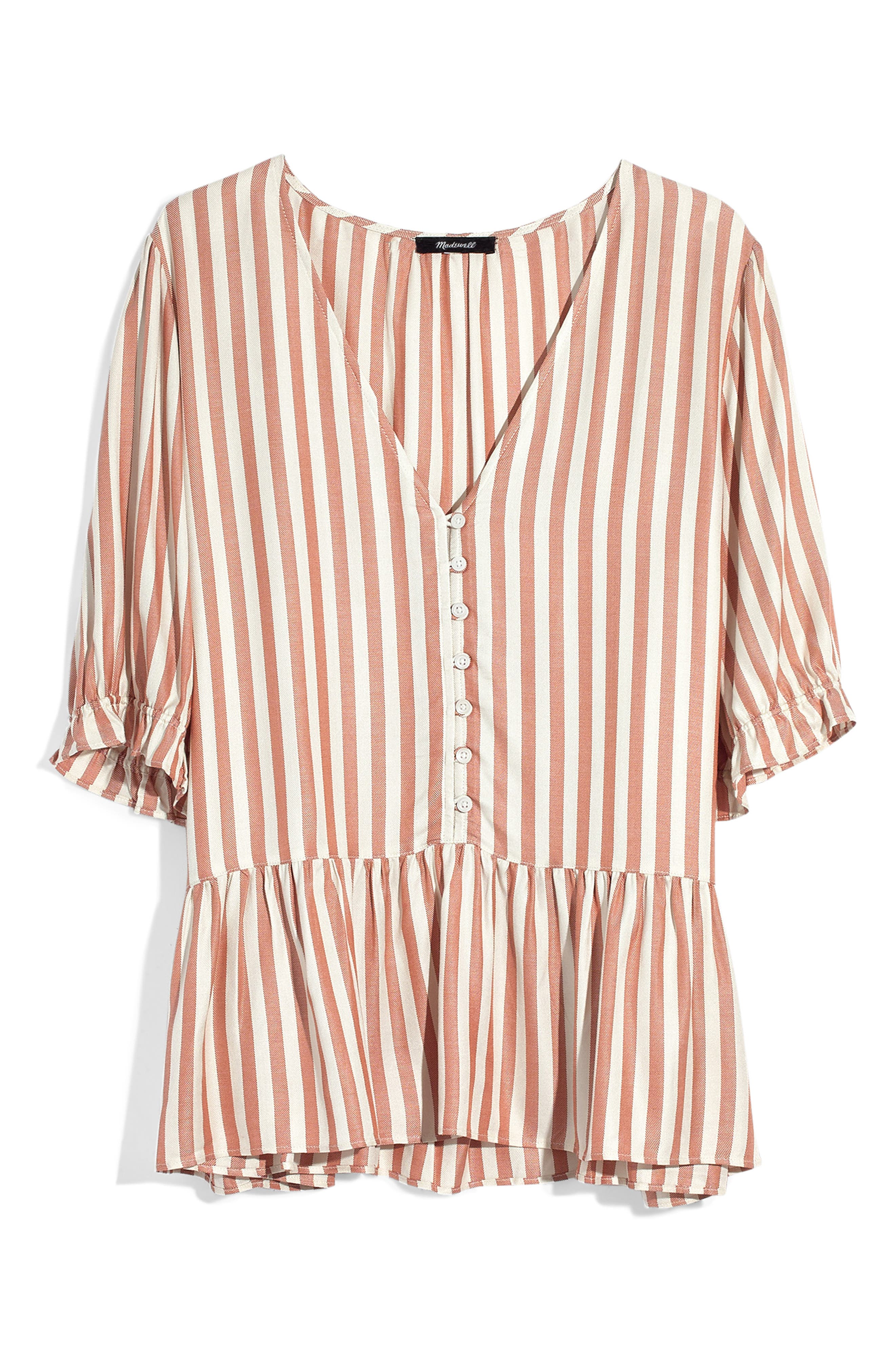 MADEWELL,                             Courtyard Ruffle Hem Top,                             Alternate thumbnail 5, color,                             STRIPE
