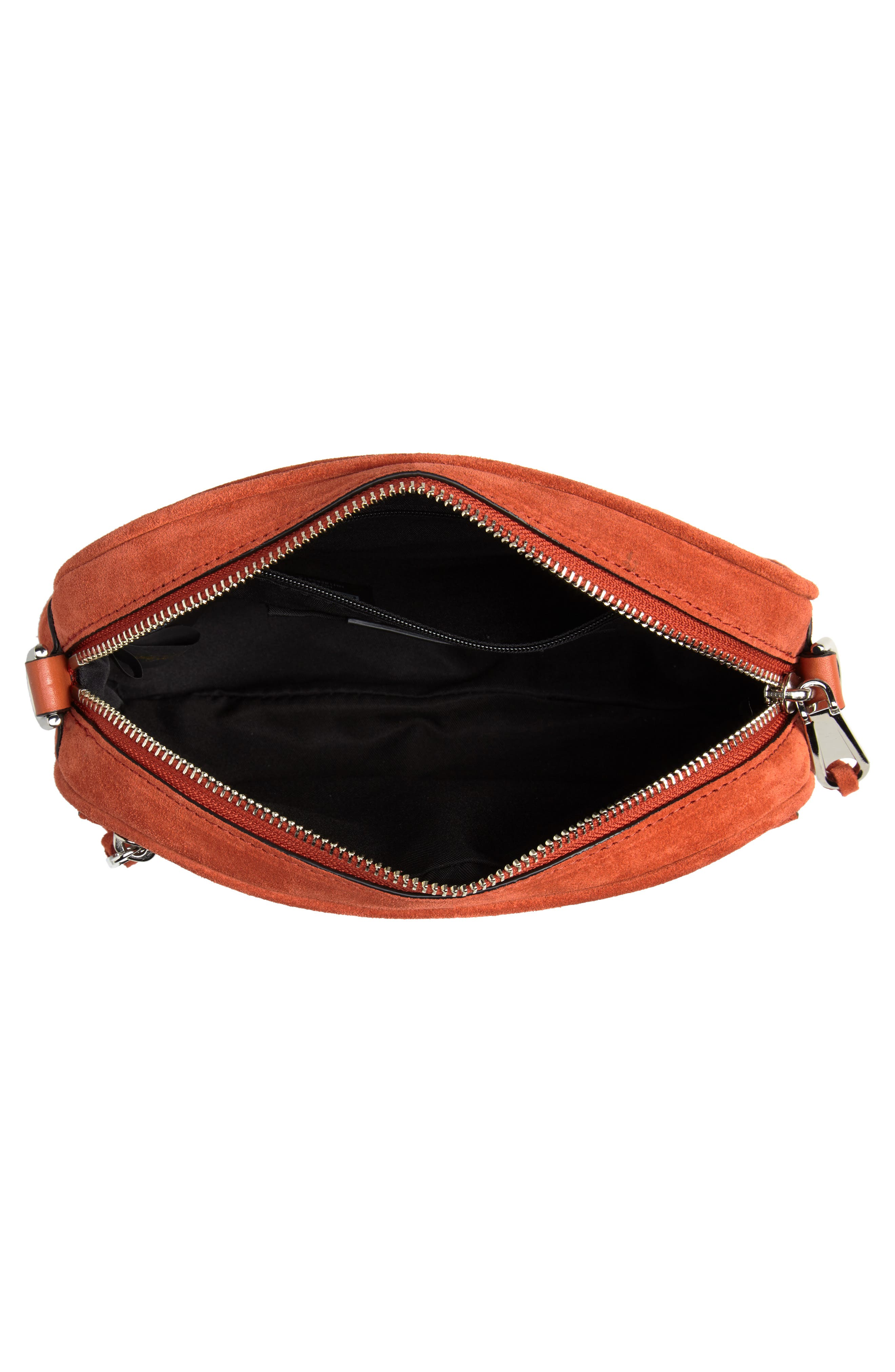 REBECCA MINKOFF,                             Blythe Suede Crossbody Bag,                             Alternate thumbnail 4, color,                             RUST