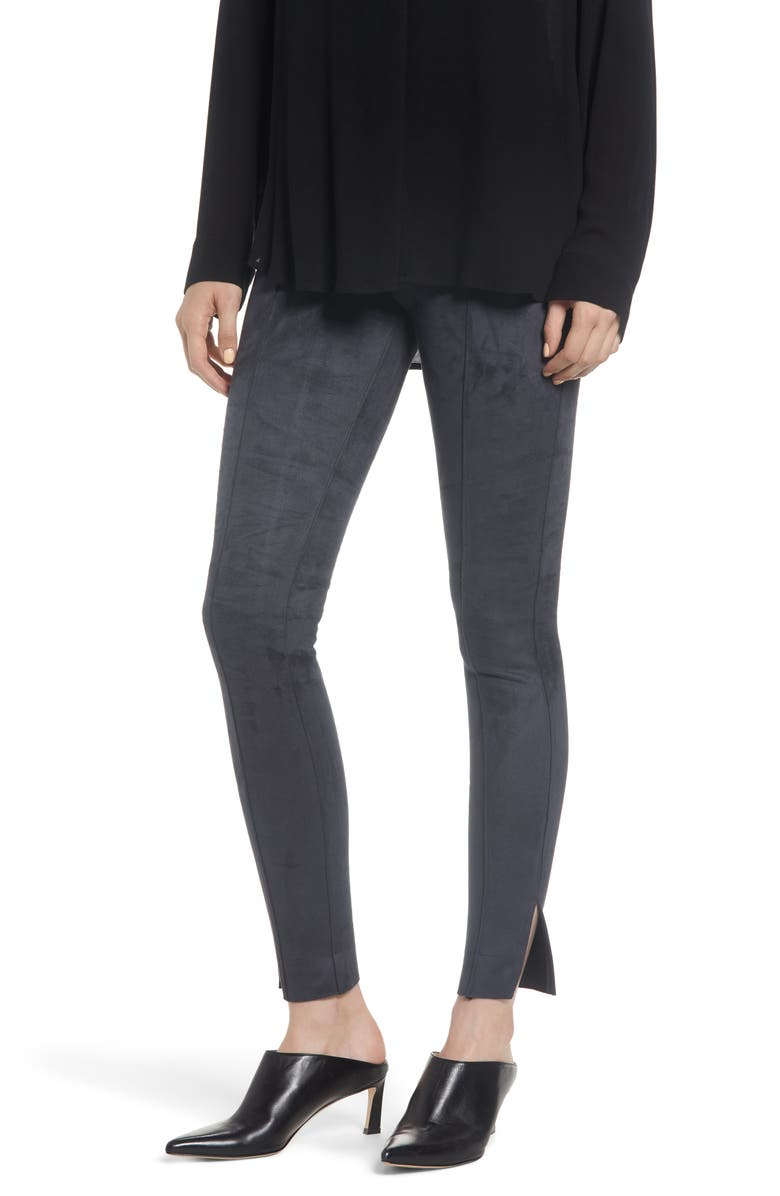 8e80dc6cdf0 Zeza B by Hue Side Slit Faux Suede Leggings