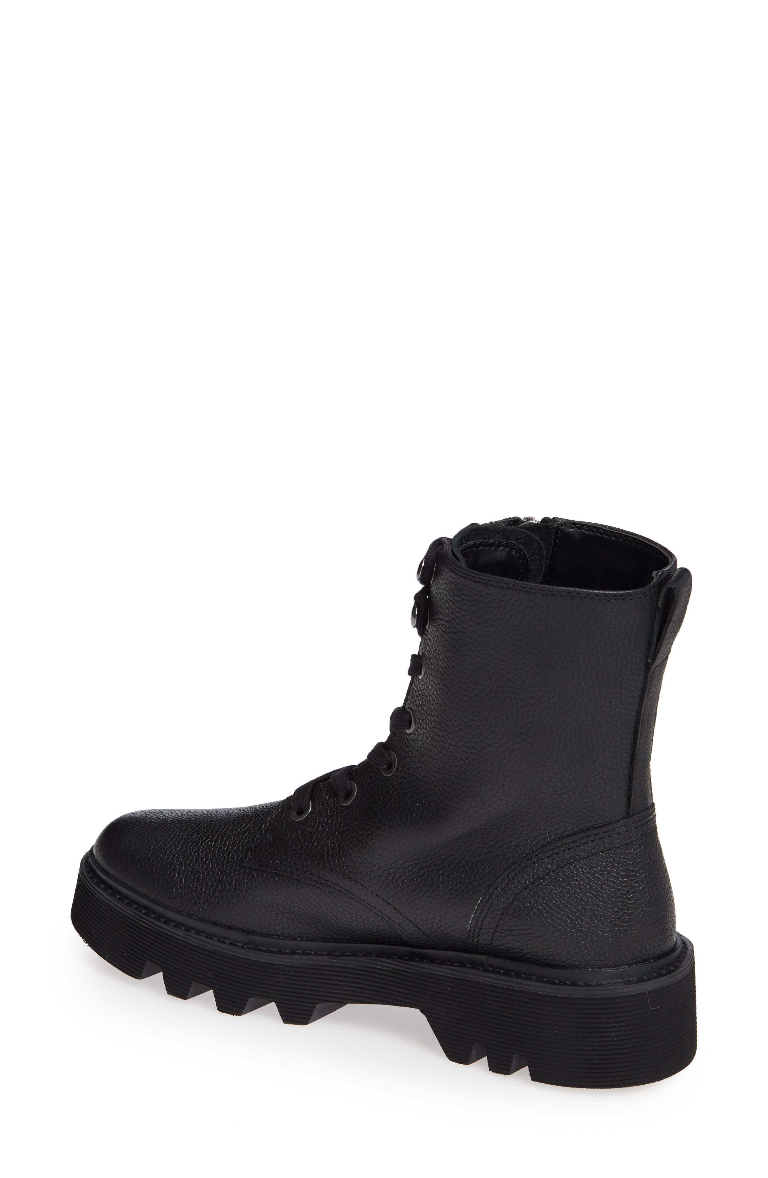 Diahne Combat Boot,                             Alternate thumbnail 2, color,                             BLACK LEATHER