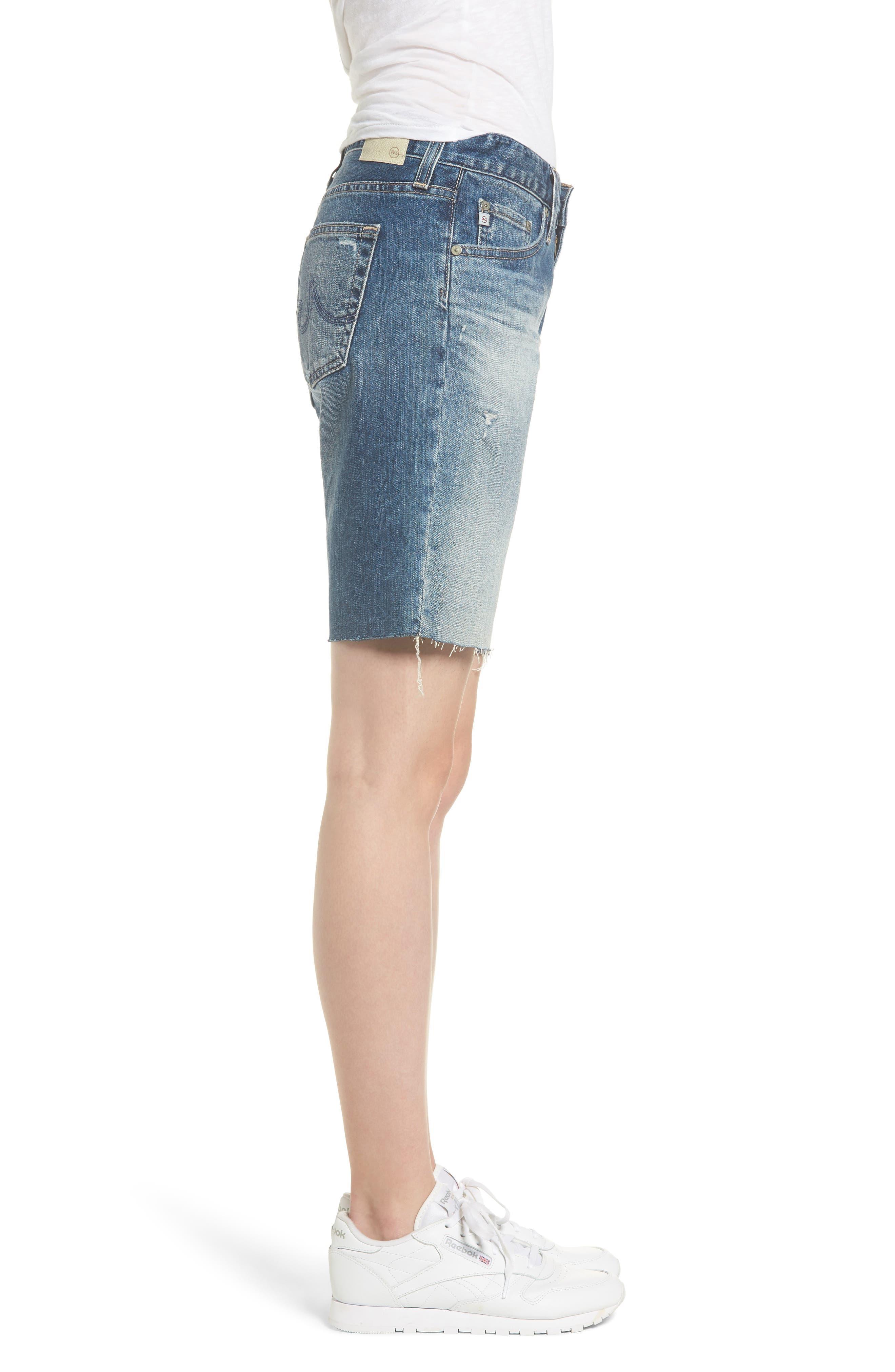Nikki Cutoff Denim Shorts,                             Alternate thumbnail 3, color,                             20Y BRILLANCE
