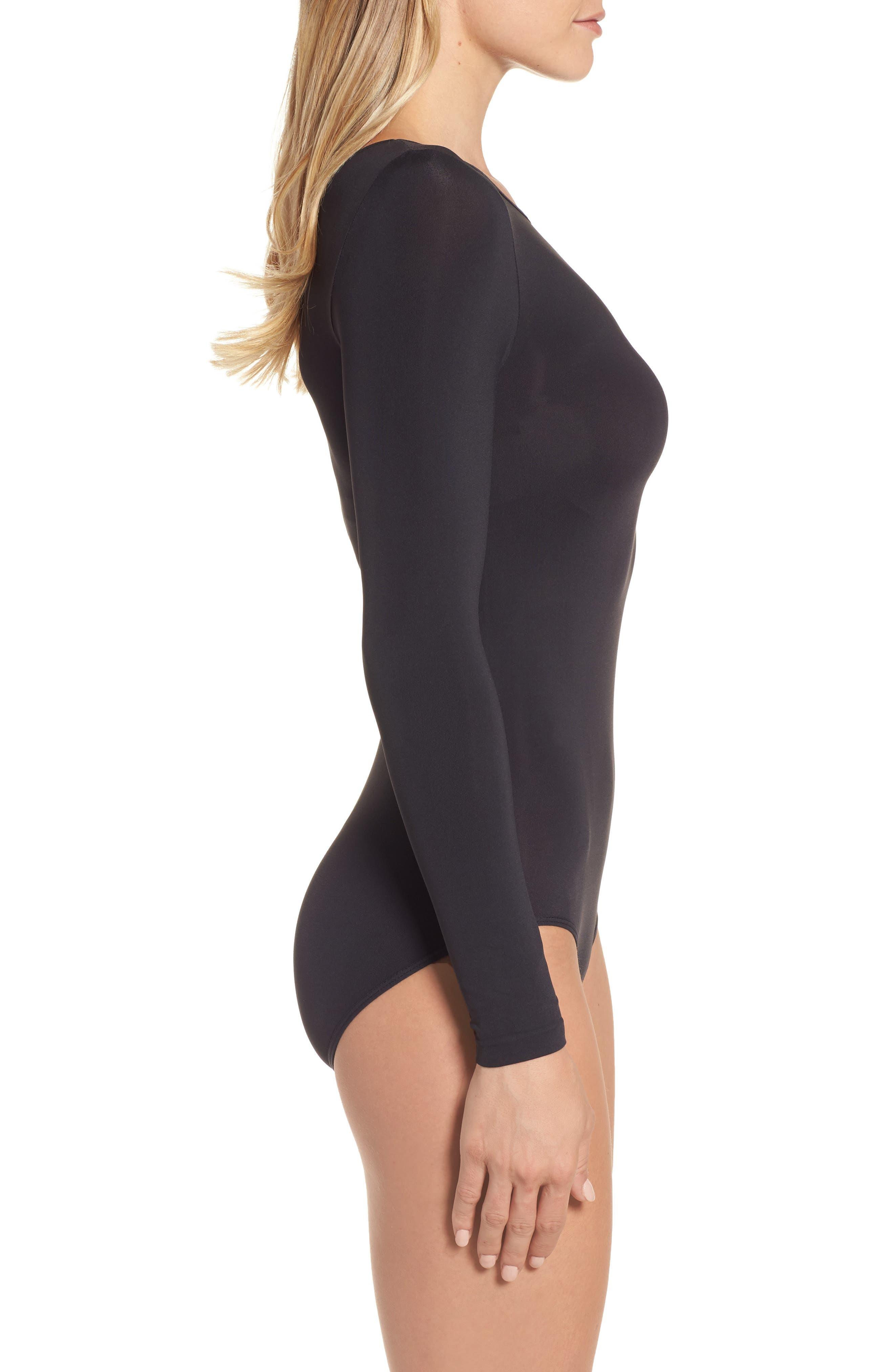 Opaque Bodysuit,                             Alternate thumbnail 3, color,                             BLACK