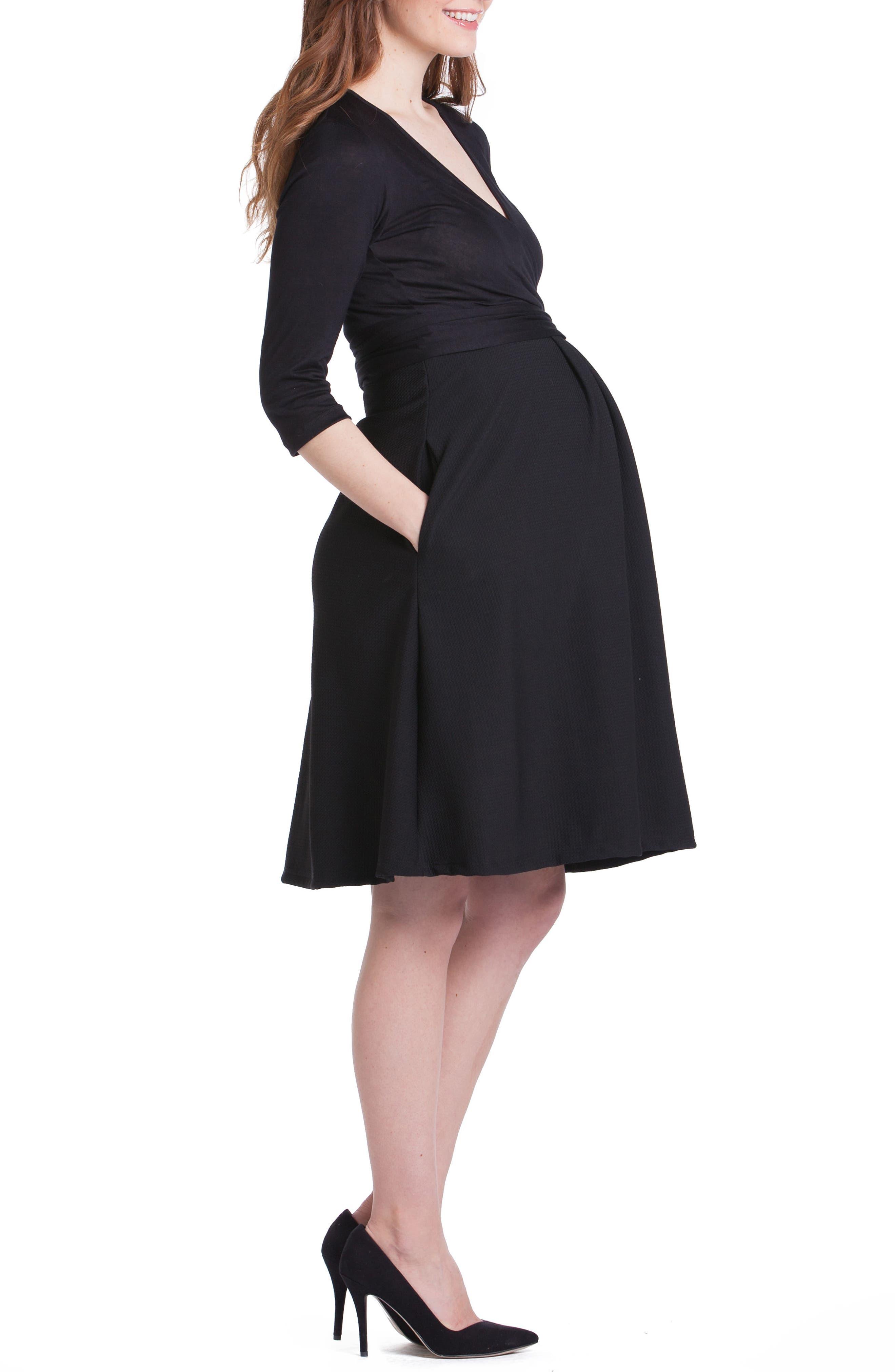 Abby Maternity/Nursing Dress,                             Alternate thumbnail 4, color,                             001
