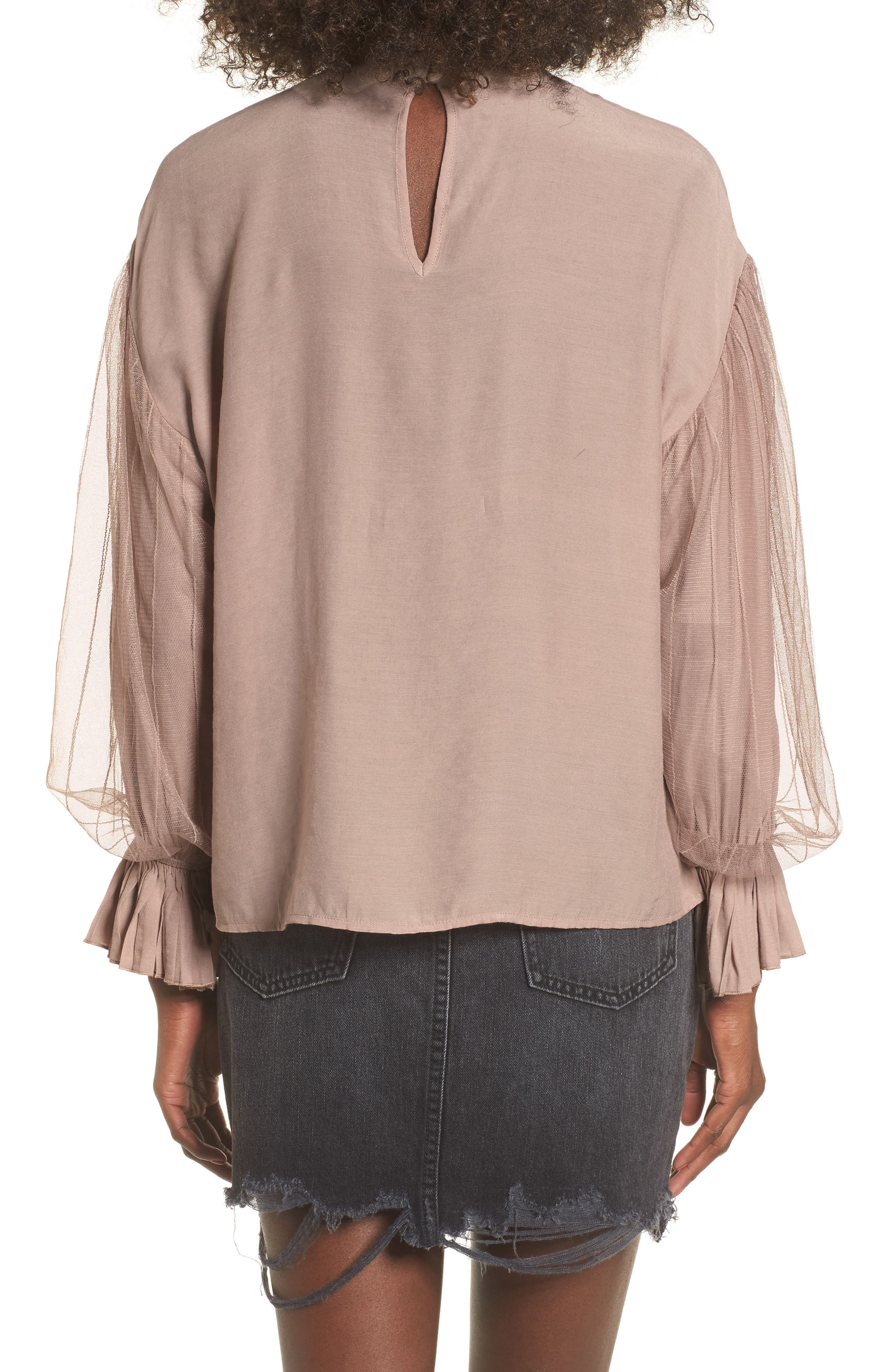 Tulle Puff Sleeve Top,                             Alternate thumbnail 2, color,
