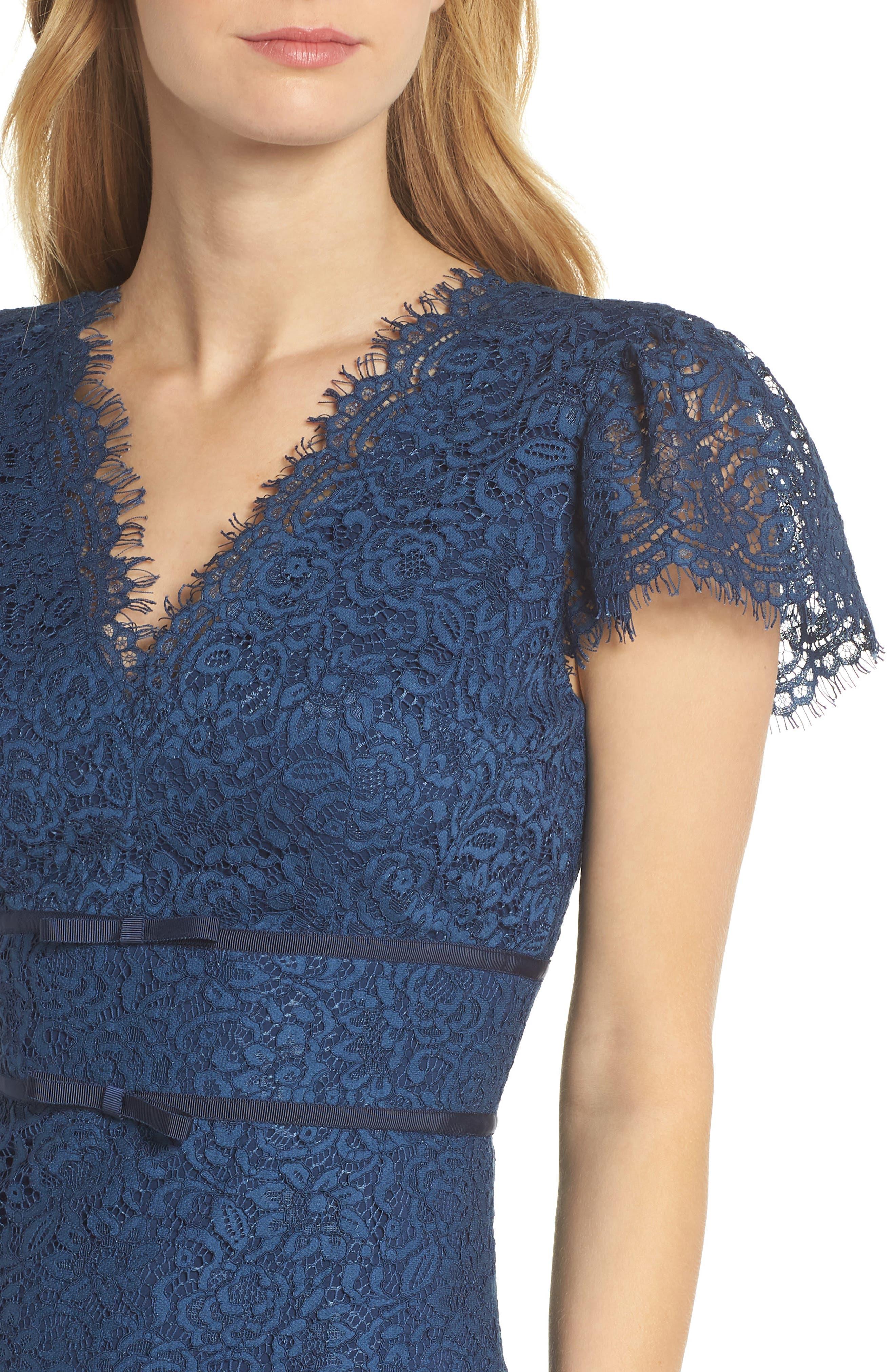 Ginger Rosebud Lace Sheath Dress,                             Alternate thumbnail 4, color,                             462