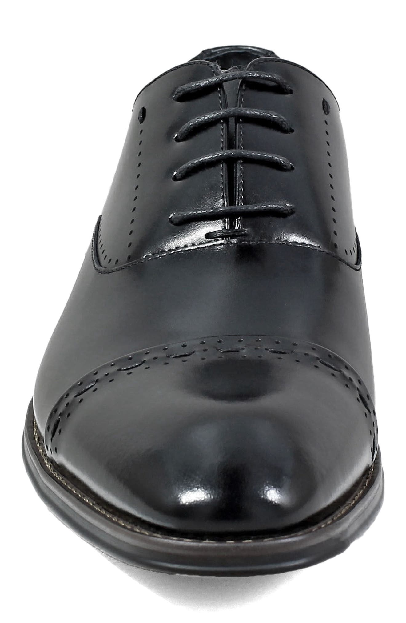 Barris Cap Toe Derby,                             Alternate thumbnail 4, color,                             BLACK LEATHER
