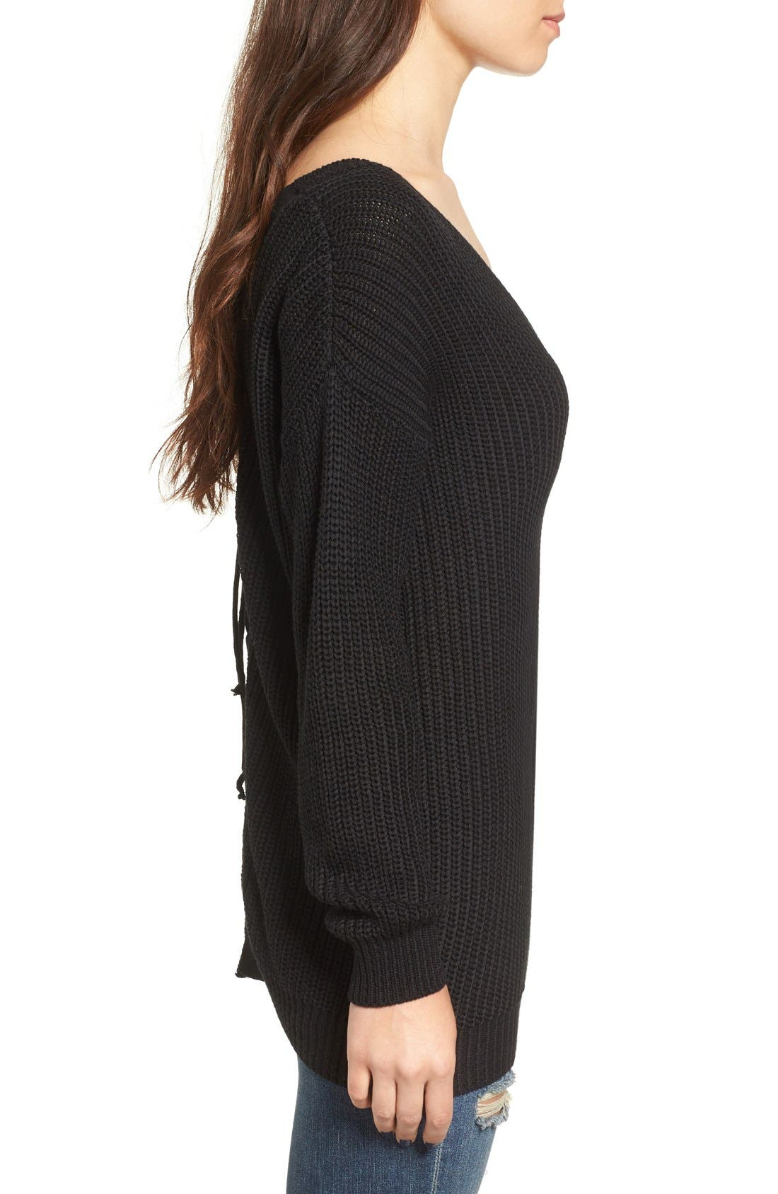 Lace-Up Back Sweater,                             Alternate thumbnail 5, color,                             001