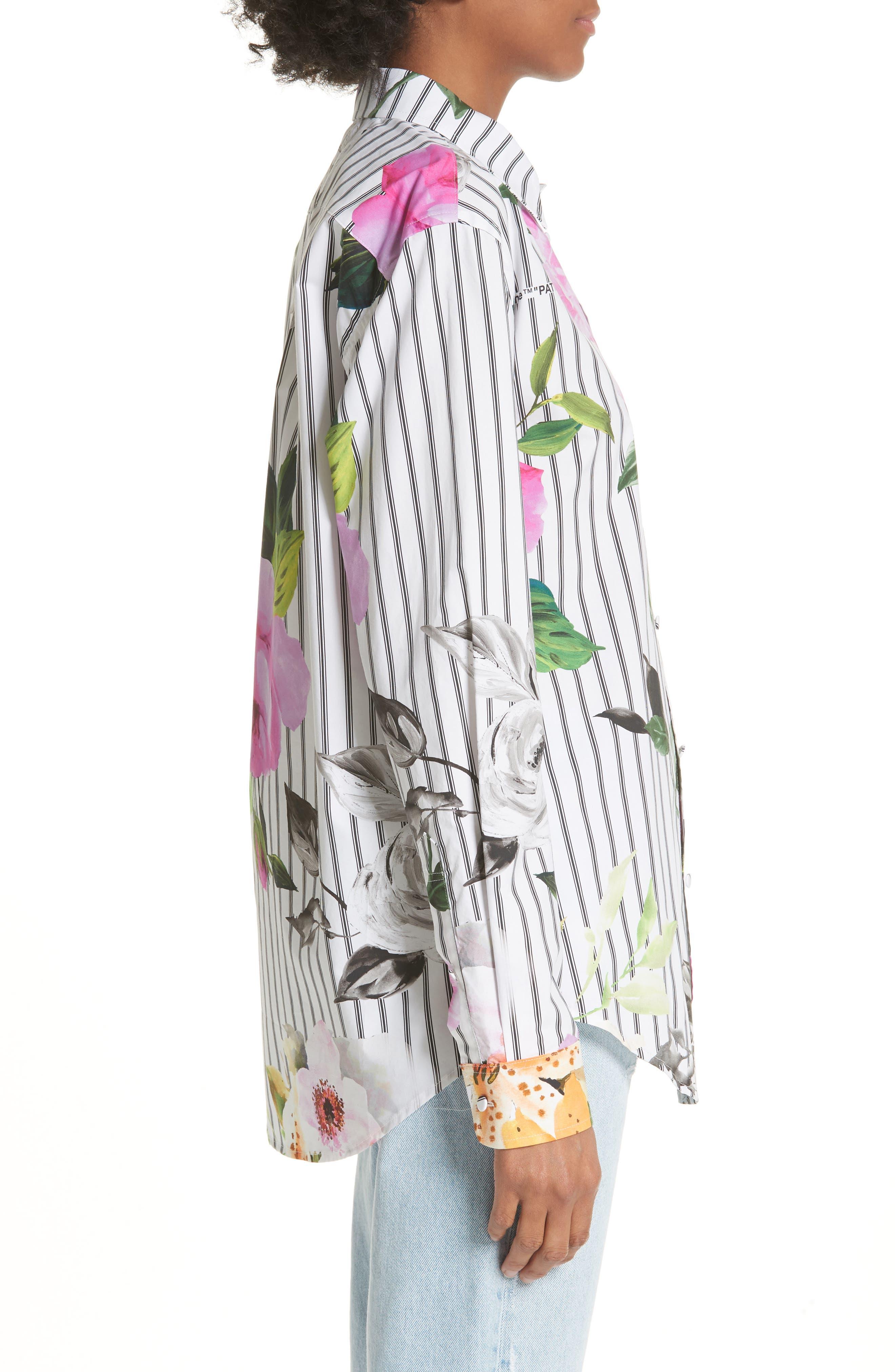 Basic Flower Stripe Shirt,                             Alternate thumbnail 3, color,                             020