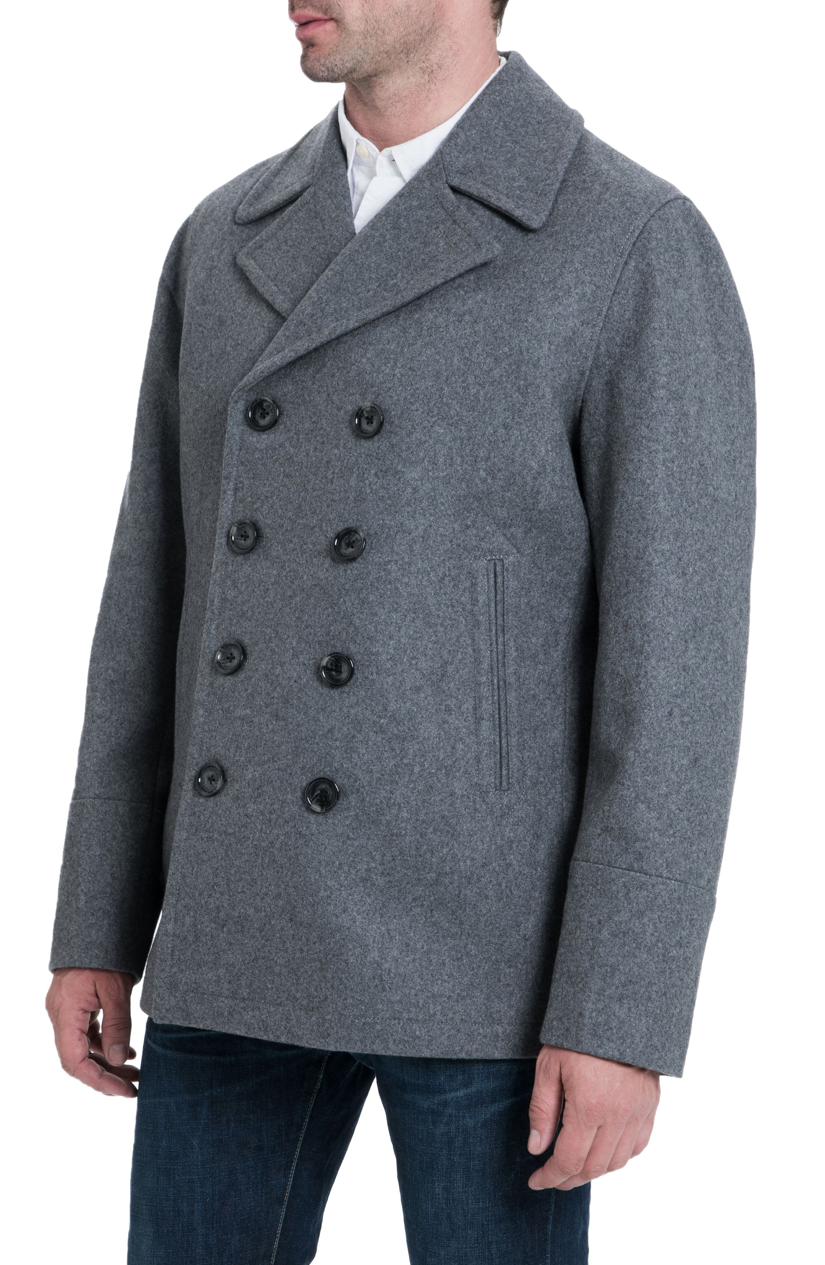 Wool Blend Double Breasted Peacoat,                             Alternate thumbnail 3, color,                             MEDIUM GREY HEATHER