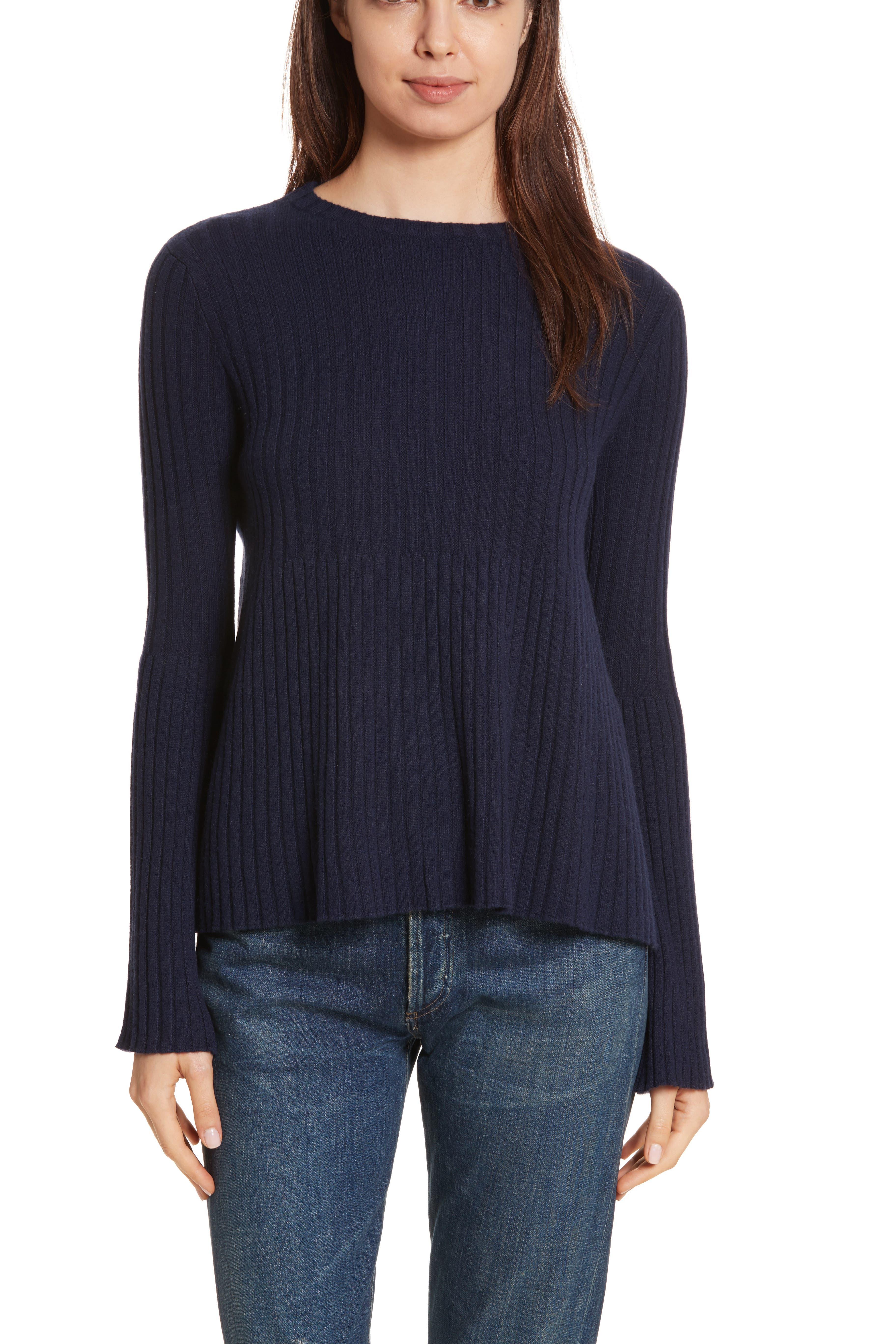 Balloon Sleeve Cashmere Turtleneck Sweater,                             Alternate thumbnail 3, color,                             020