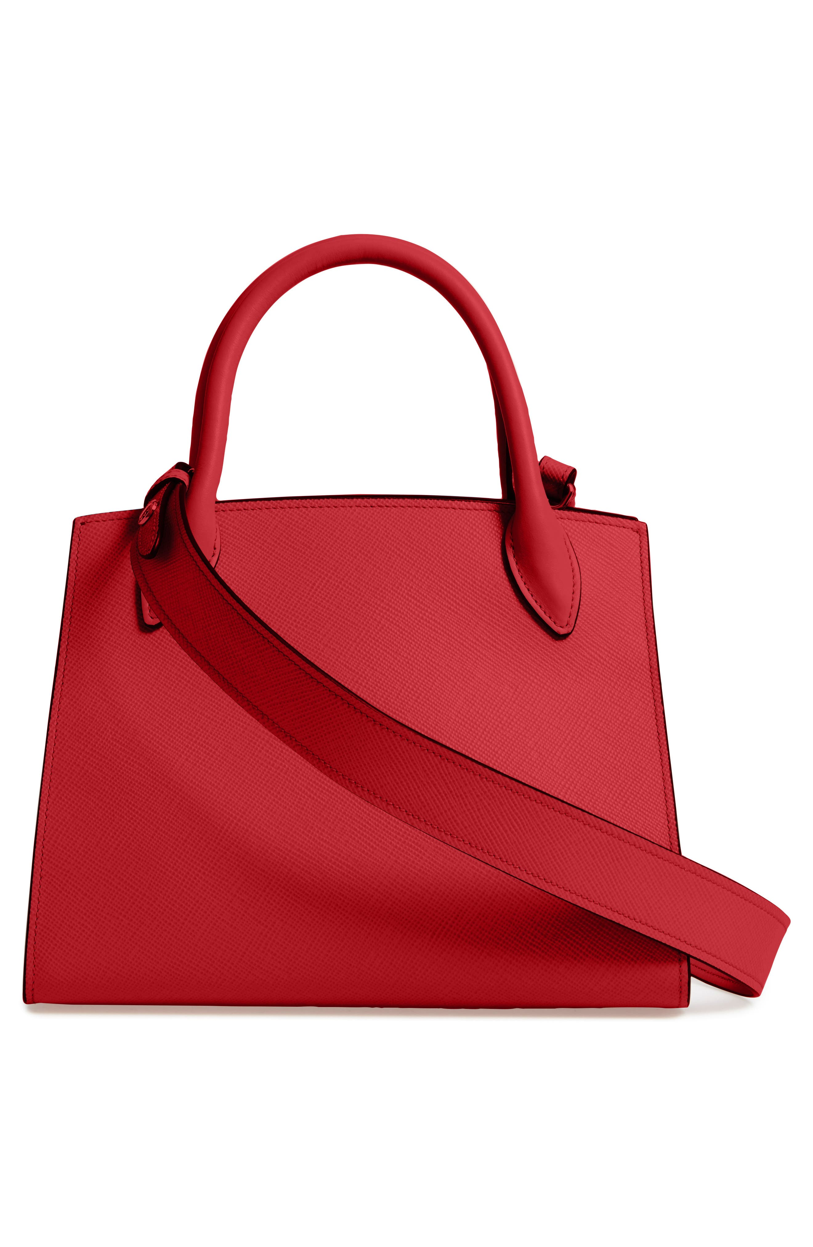 Small Monochrome Saffiano Tote,                             Alternate thumbnail 2, color,                             FUOCO