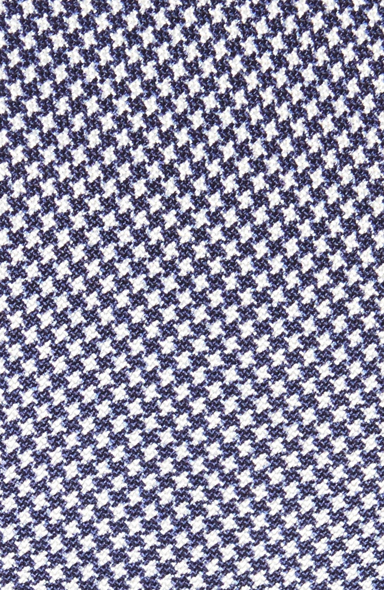 Houndstooth Silk Skinny Tie,                             Alternate thumbnail 2, color,                             NAVY