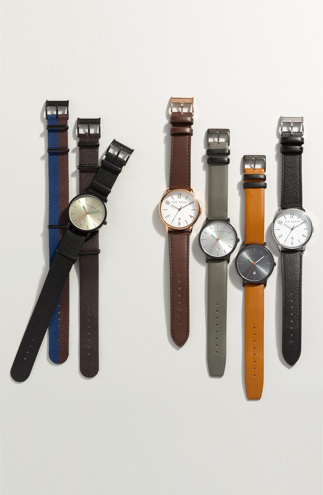 Leather Strap Watch, 42mm,                             Main thumbnail 1, color,                             001