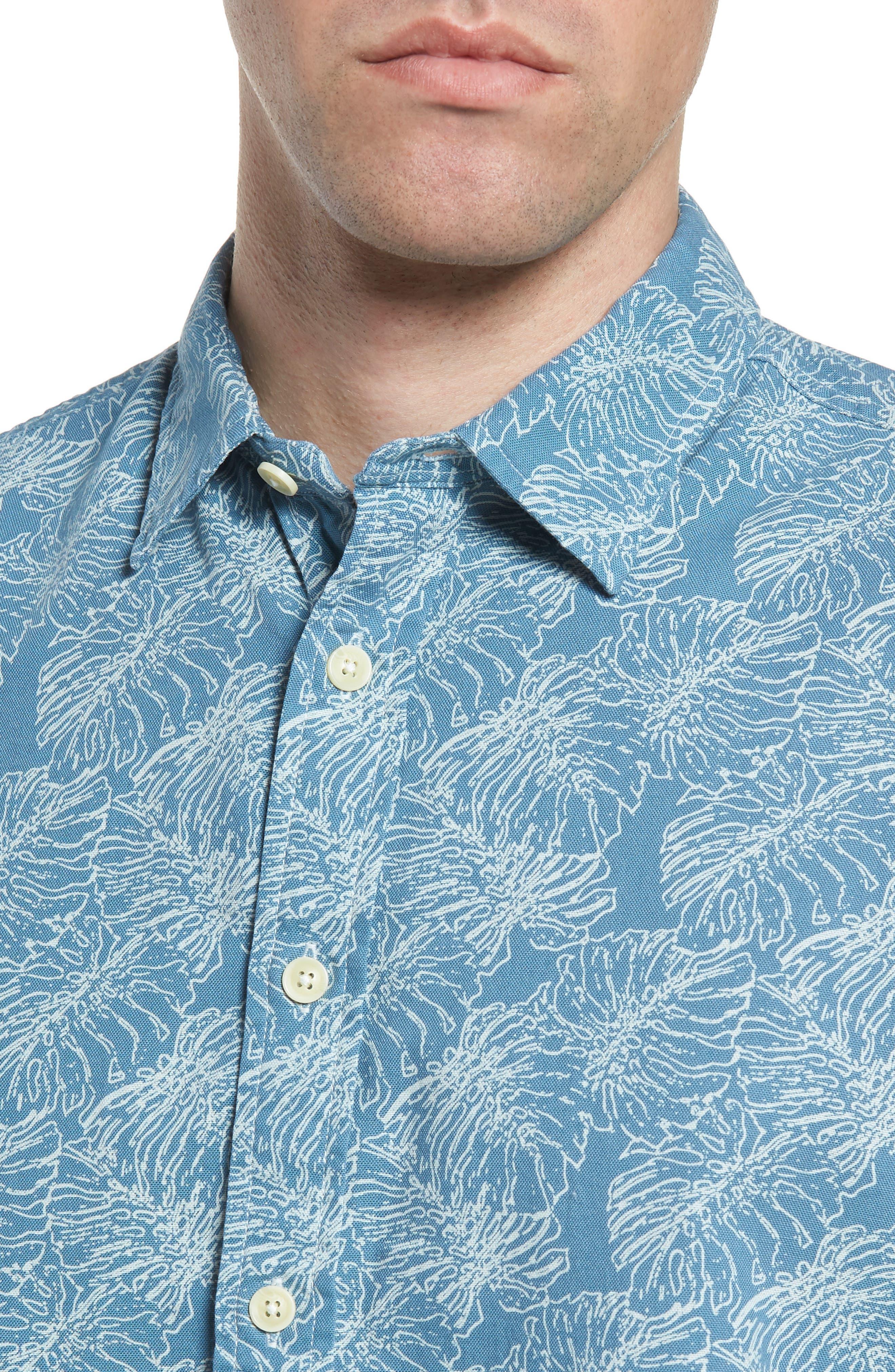 Leaf Print Short Sleeve Sport Shirt,                             Alternate thumbnail 4, color,                             424