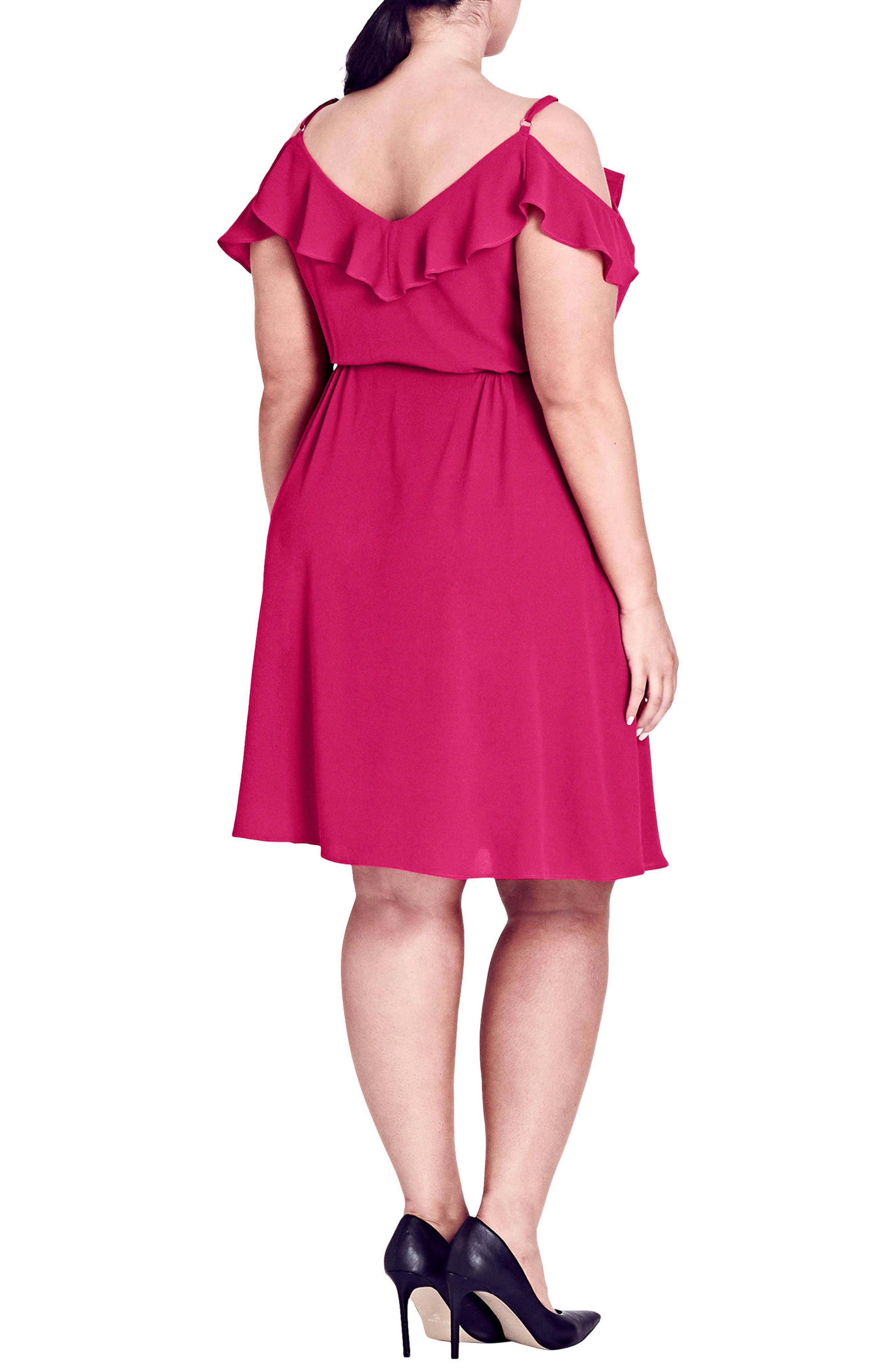 Lulu Faux Wrap Dress,                             Alternate thumbnail 2, color,                             ULTRA PINK