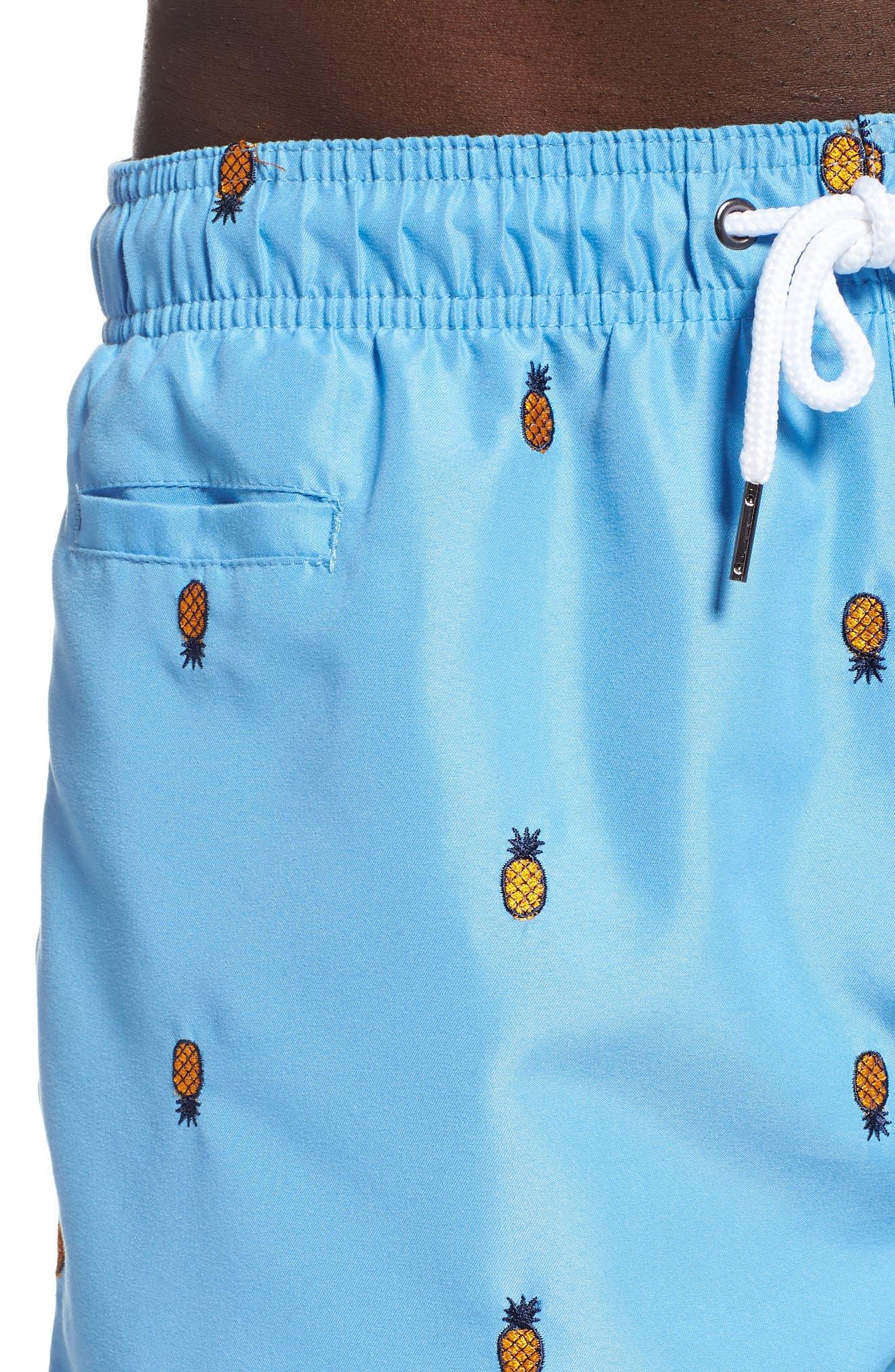Premium Embroidered Sano Swim Trunks,                             Alternate thumbnail 4, color,                             PERISIAN BLUE