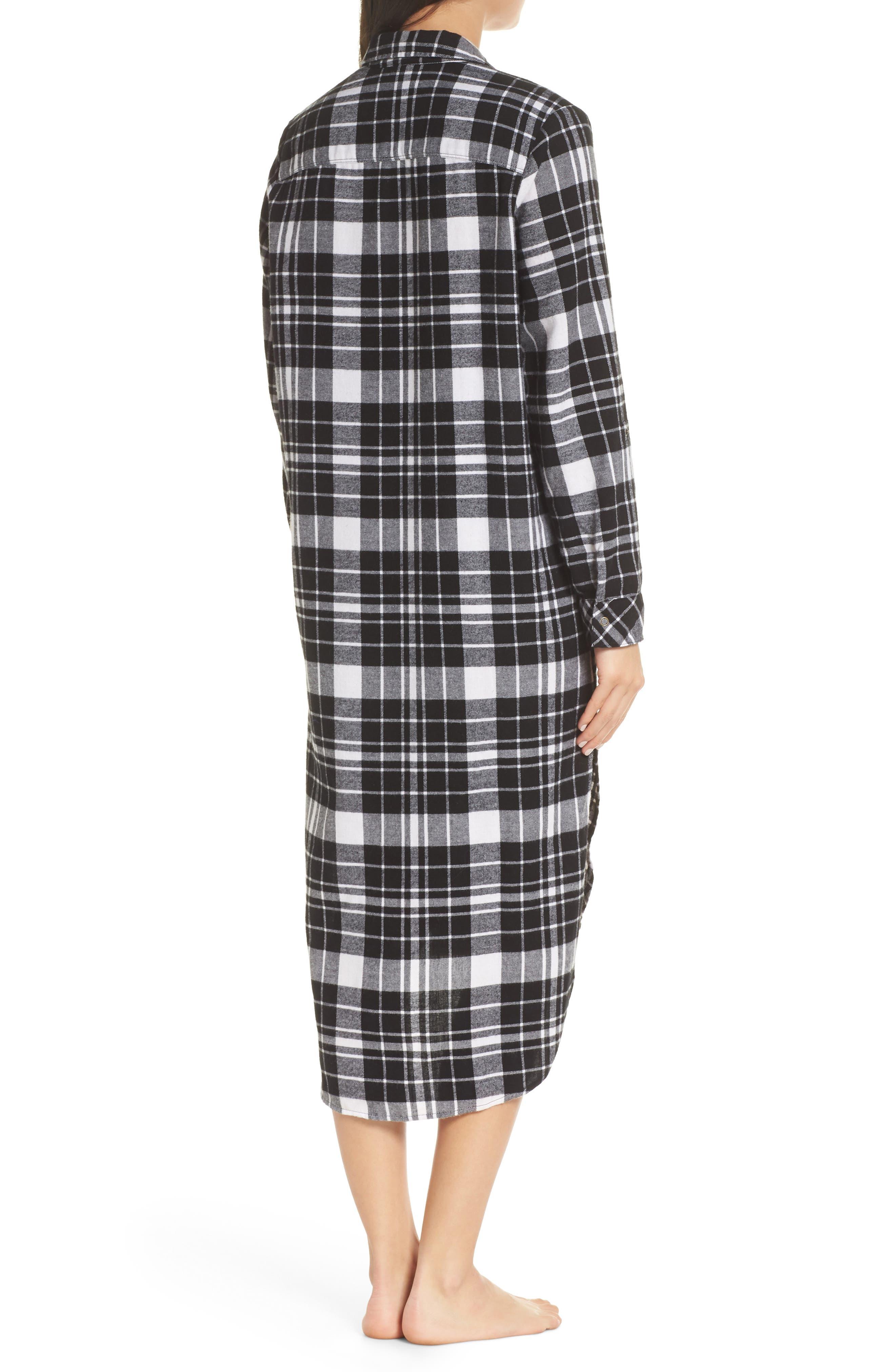 Flannel Midi Sleep Shirt,                             Alternate thumbnail 3, color,                             BLACK FLAT TWILL