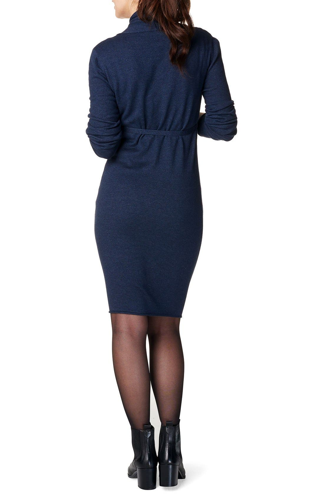 Zara Knit Maternity Sweater Dress,                             Alternate thumbnail 2, color,                             DARK BLUE