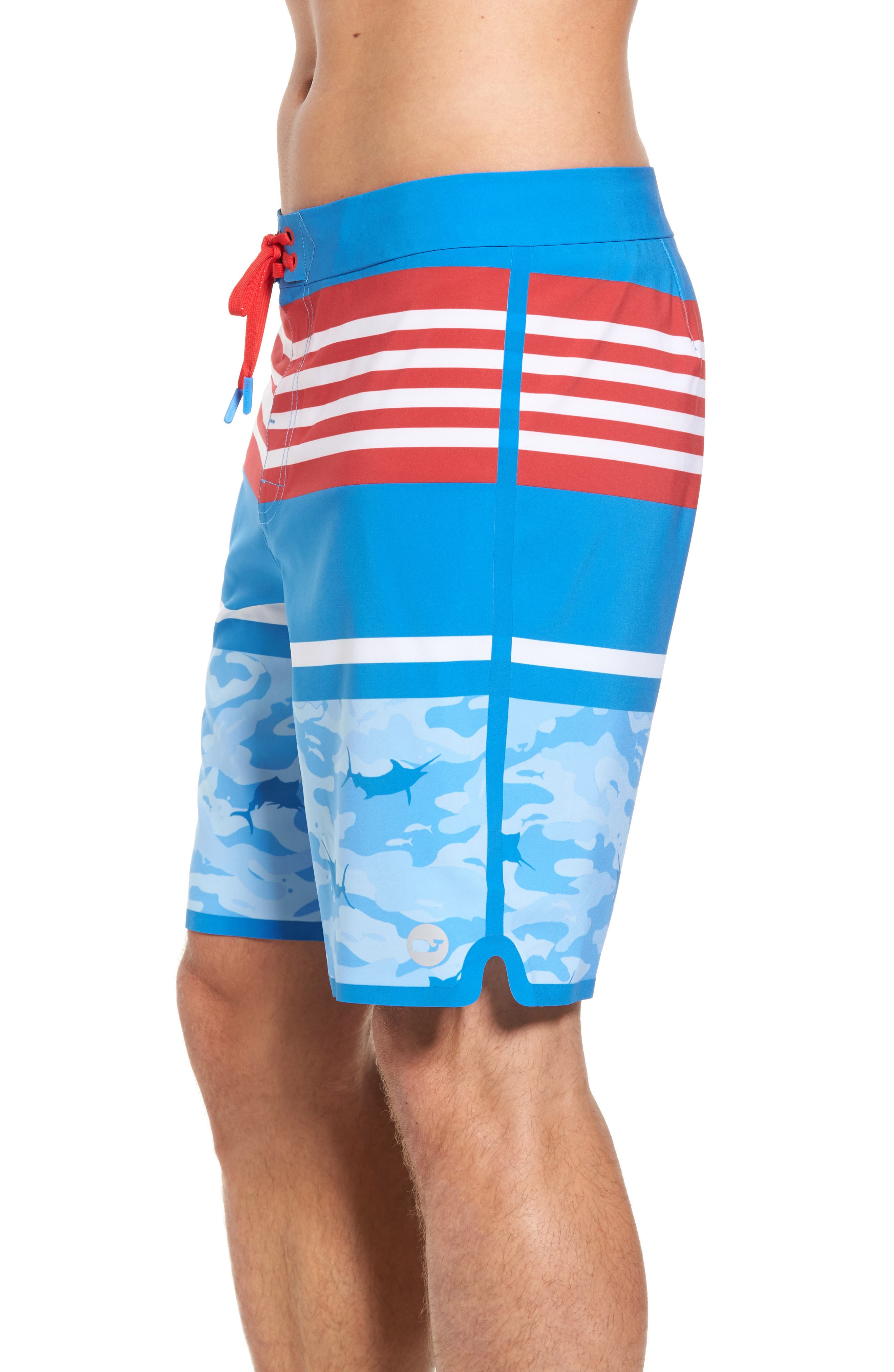 Fish Camo Stripe Board Shorts,                             Alternate thumbnail 4, color,                             400