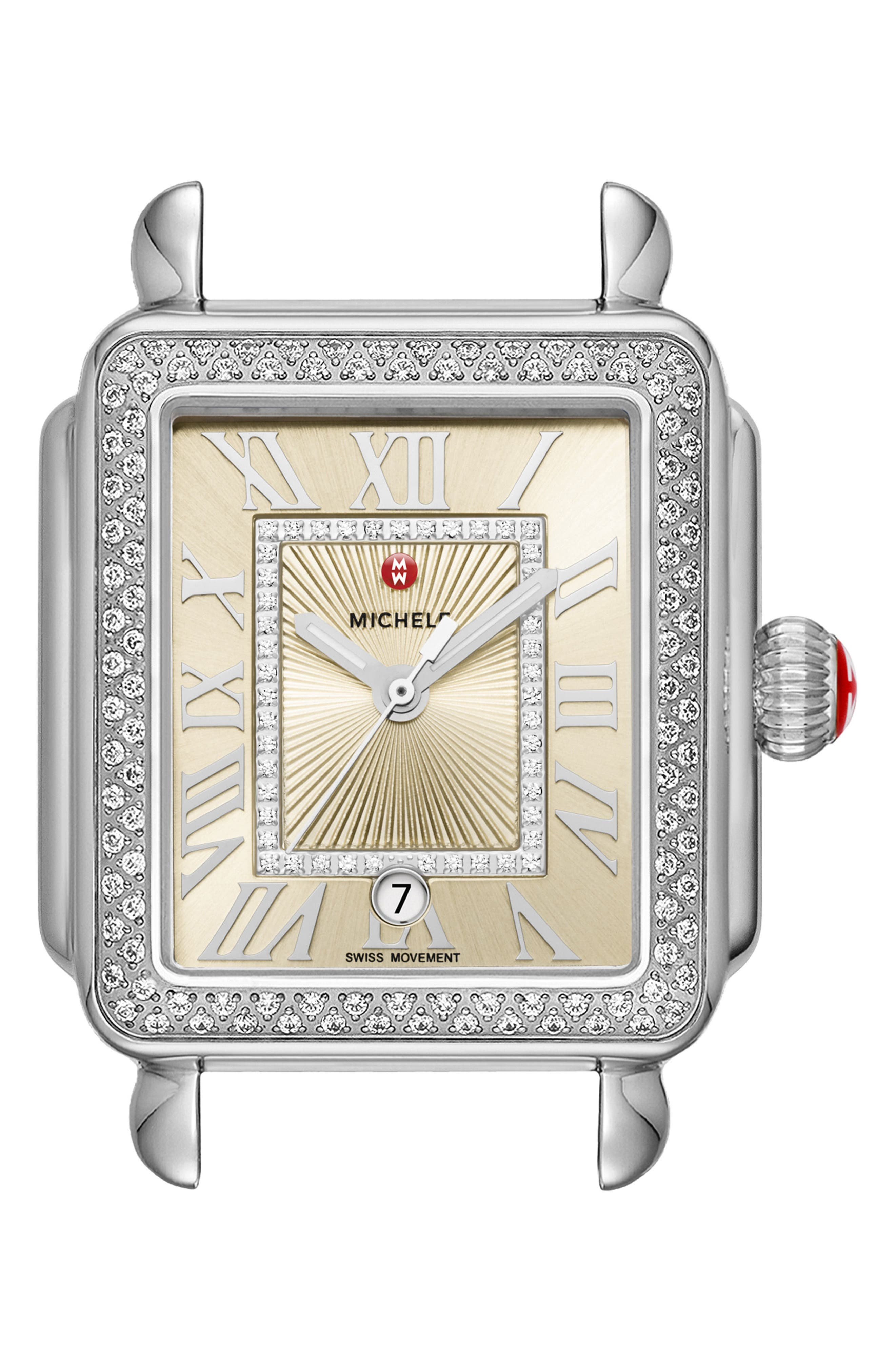 Deco Madison Champagne Diamond Watch Head, 33mm x 35mm,                             Main thumbnail 1, color,                             SILVER/ CHAMPAGNE