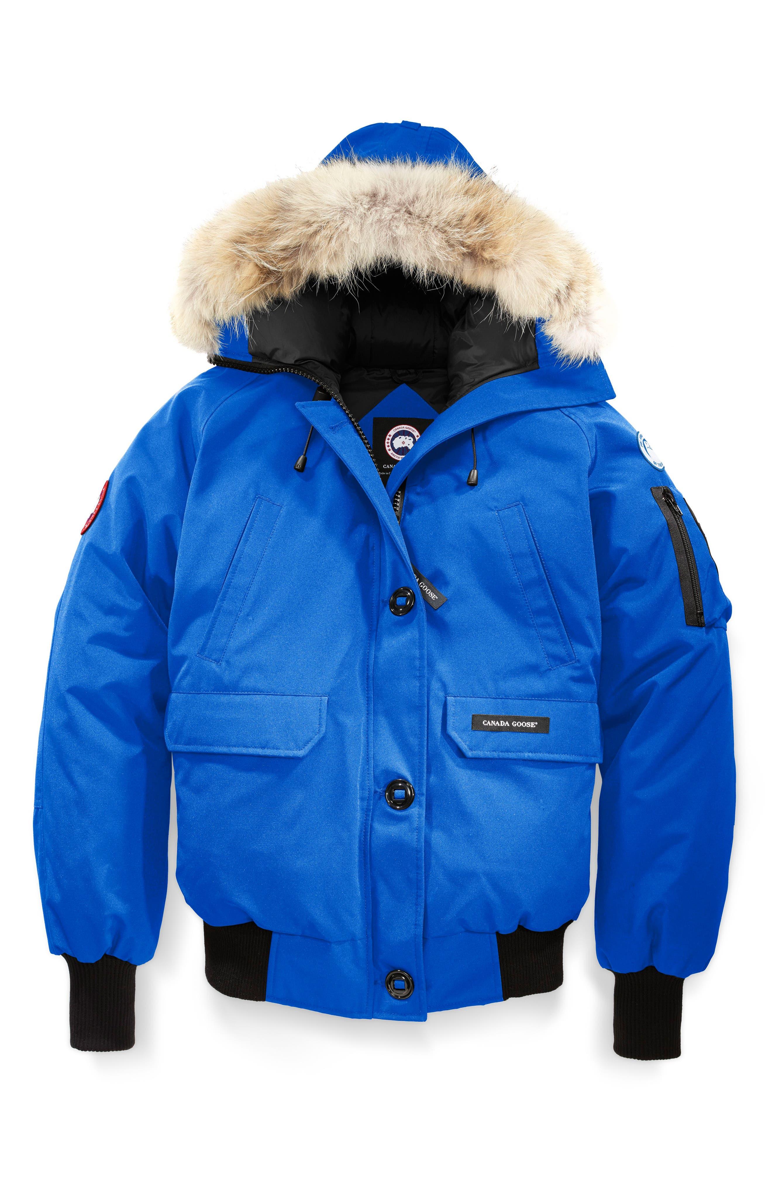 CANADA GOOSE,                             PBI Chilliwack Hooded Down Bomber Jacket with Genuine Coyote Fur Trim,                             Alternate thumbnail 4, color,                             ROYAL PBI BLUE
