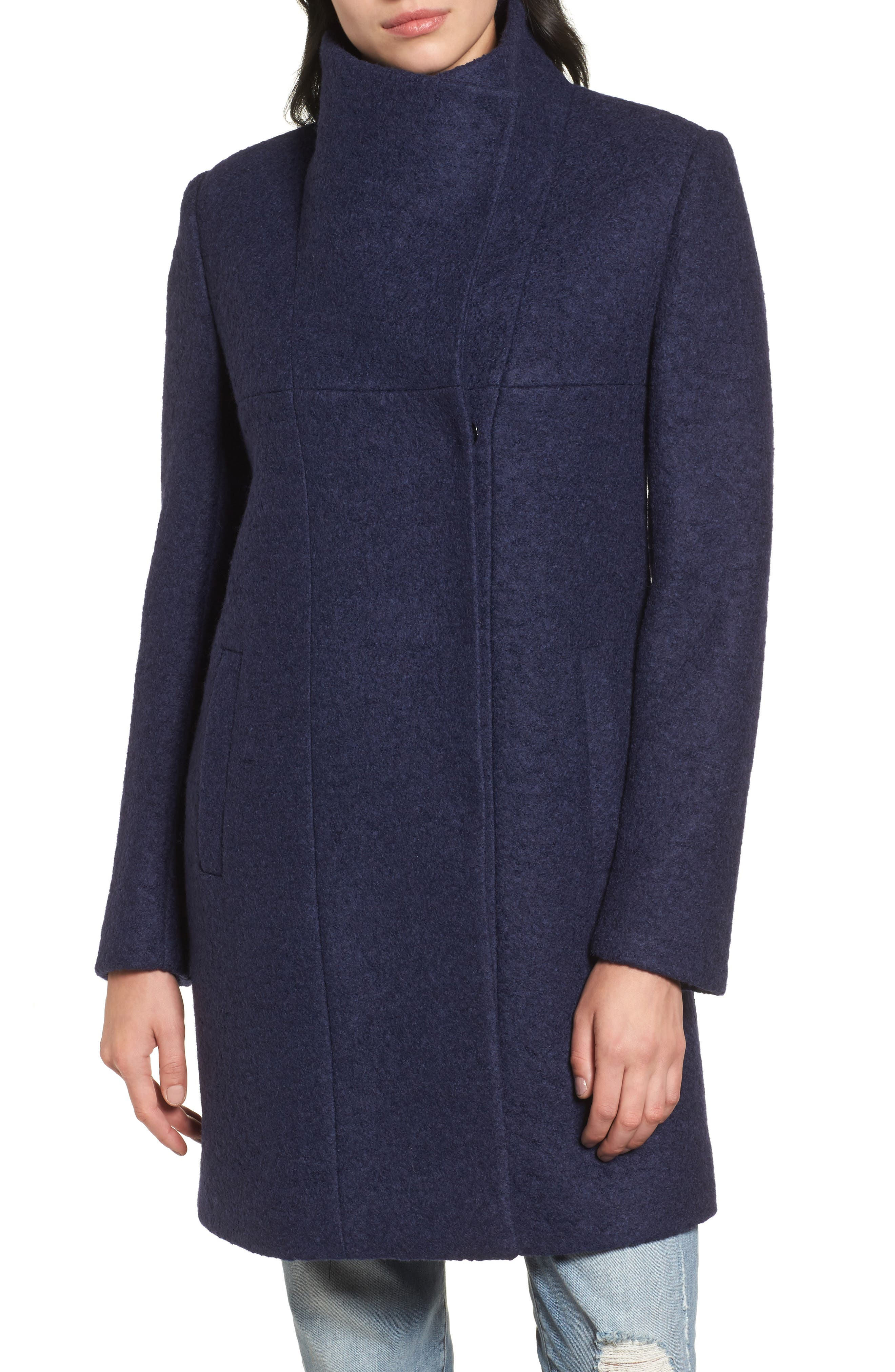 Pressed Bouclé Coat,                             Alternate thumbnail 4, color,                             513