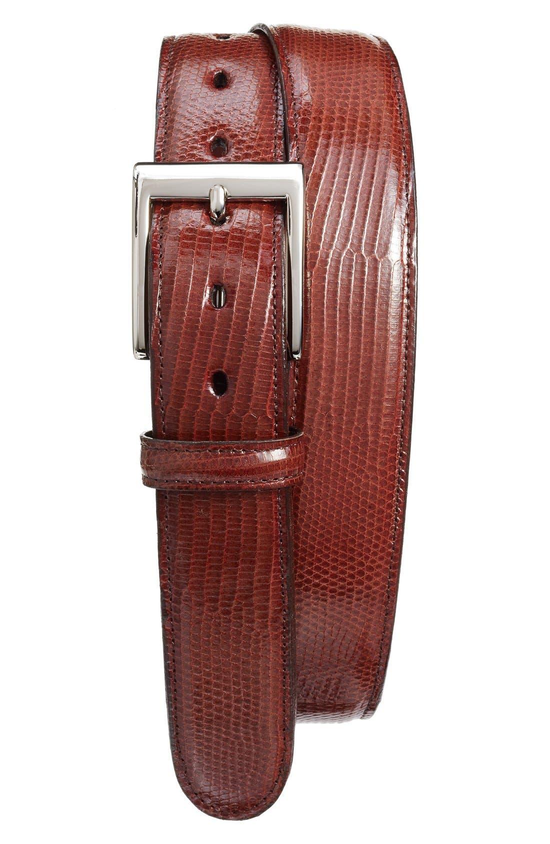 Lizard Leather Belt,                             Alternate thumbnail 3, color,                             COGNAC