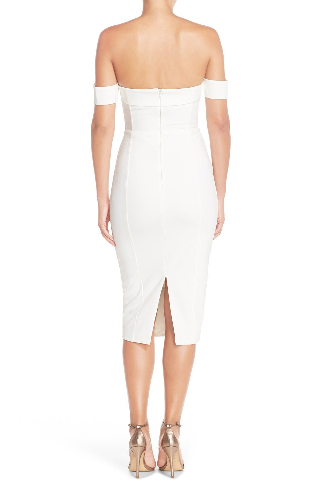 MishaCollection 'Chloe' Off the Shoulder Stretch Midi Dress,                             Alternate thumbnail 2, color,                             901