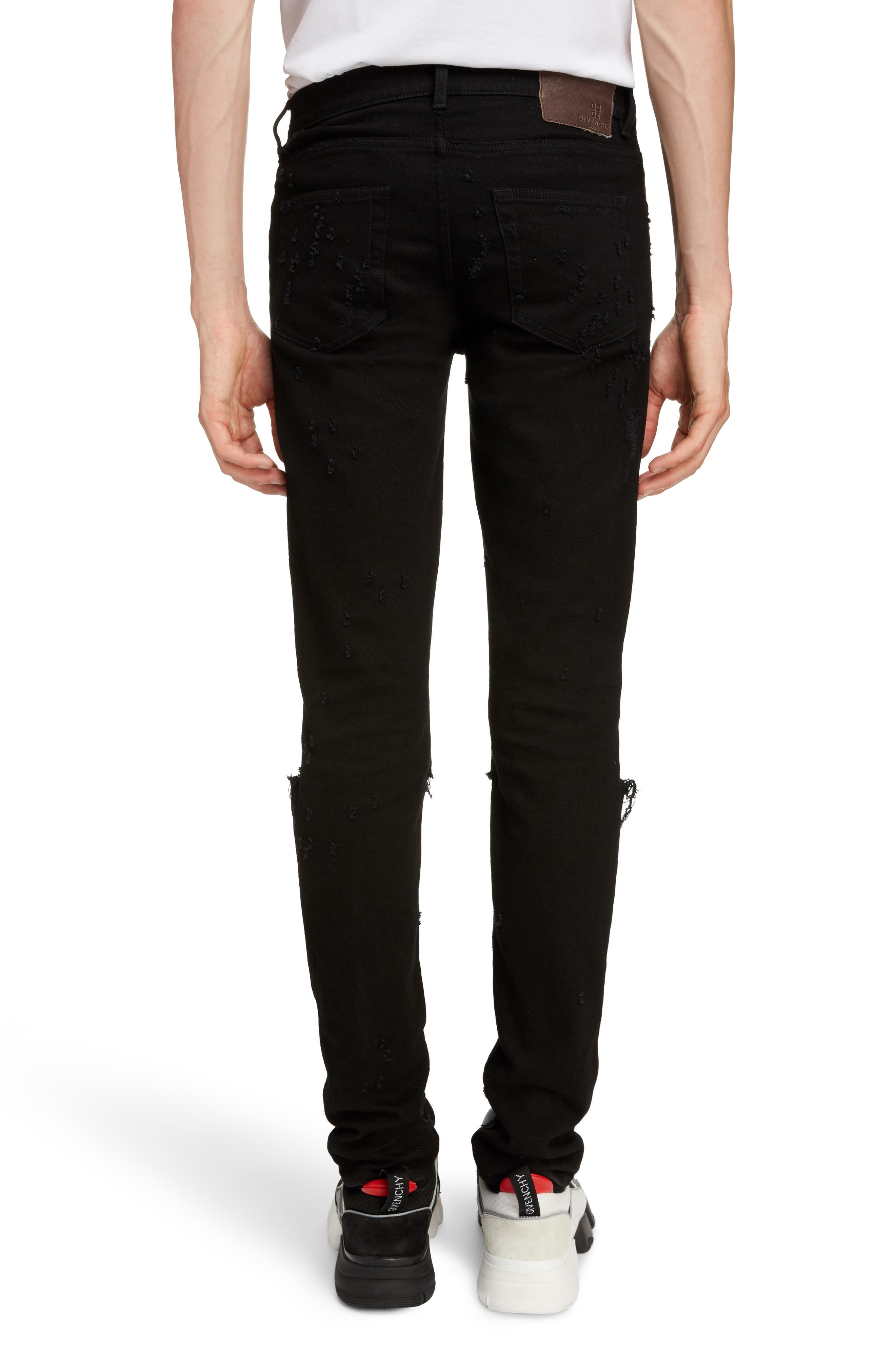 Skinny Fit Distressed Jeans,                             Alternate thumbnail 2, color,                             BLACK