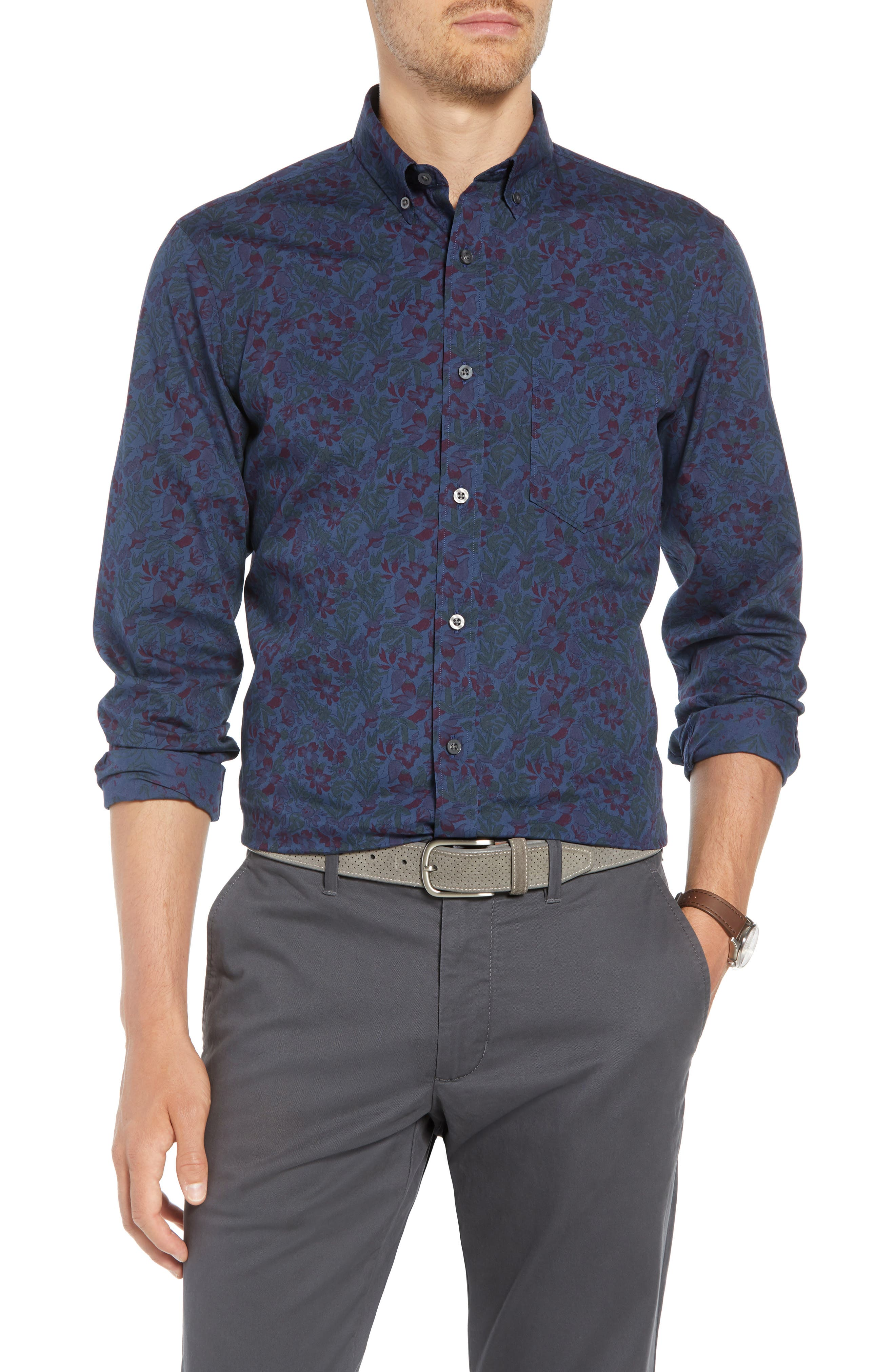 Trim Fit Floral Print Sport Shirt,                         Main,                         color, NAVY TROPICAL CHAMBRAY PRINT