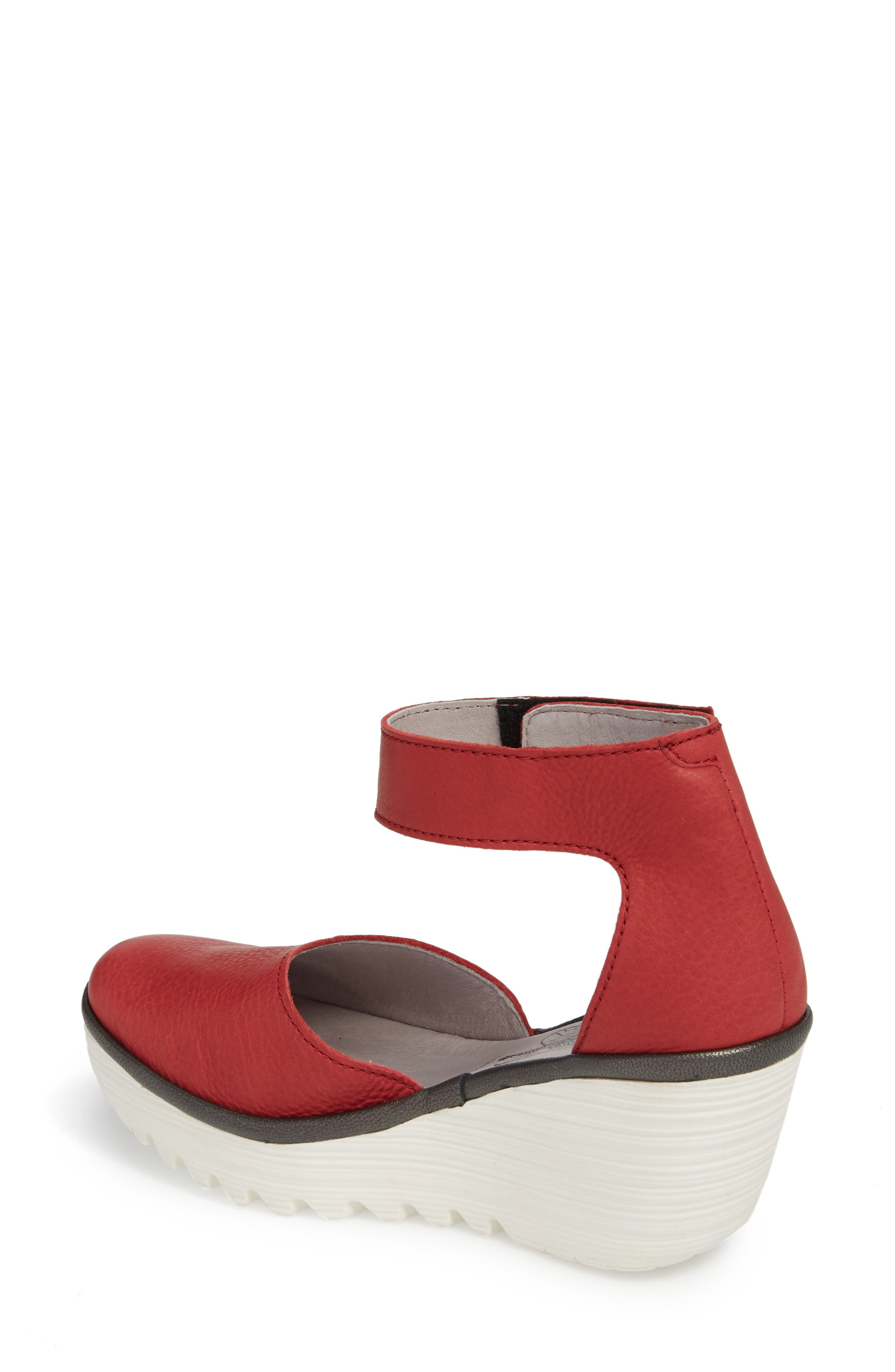 Yand Wedge Pump,                             Alternate thumbnail 2, color,                             RED/ OFF WHITE BRITO LEATHER