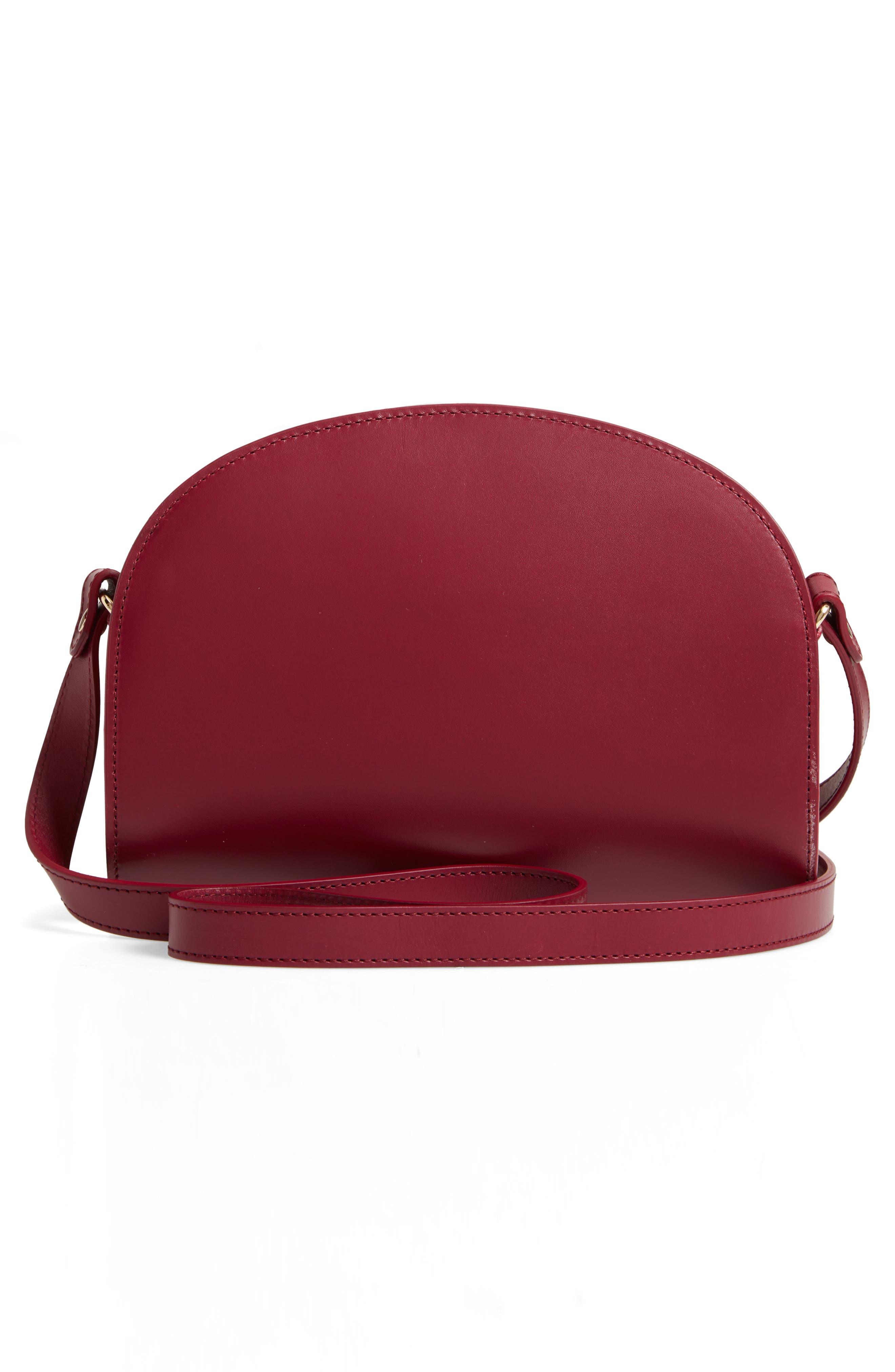 Sac Demi Lune Leather Crossbody Bag,                             Alternate thumbnail 3, color,                             FRAMBOISE