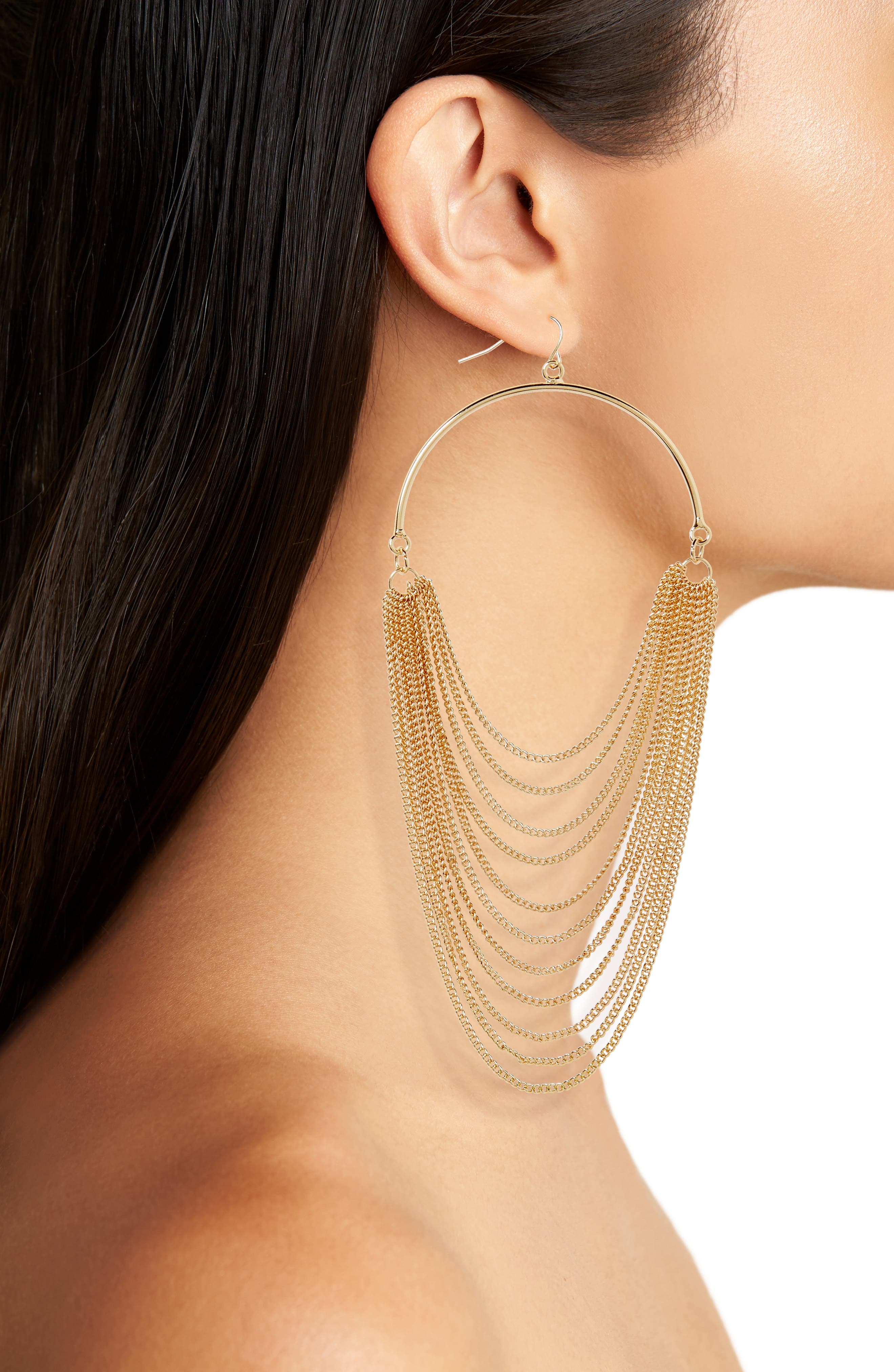 Layered Chain Hoop Earrings,                             Alternate thumbnail 2, color,