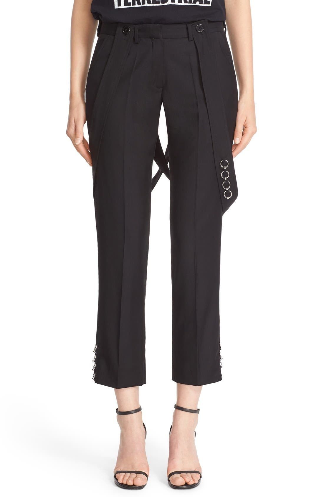 ASHLEY WILLIAMS,                             'Piercing' Wool Ankle Pants with Detachable Suspenders,                             Main thumbnail 1, color,                             001