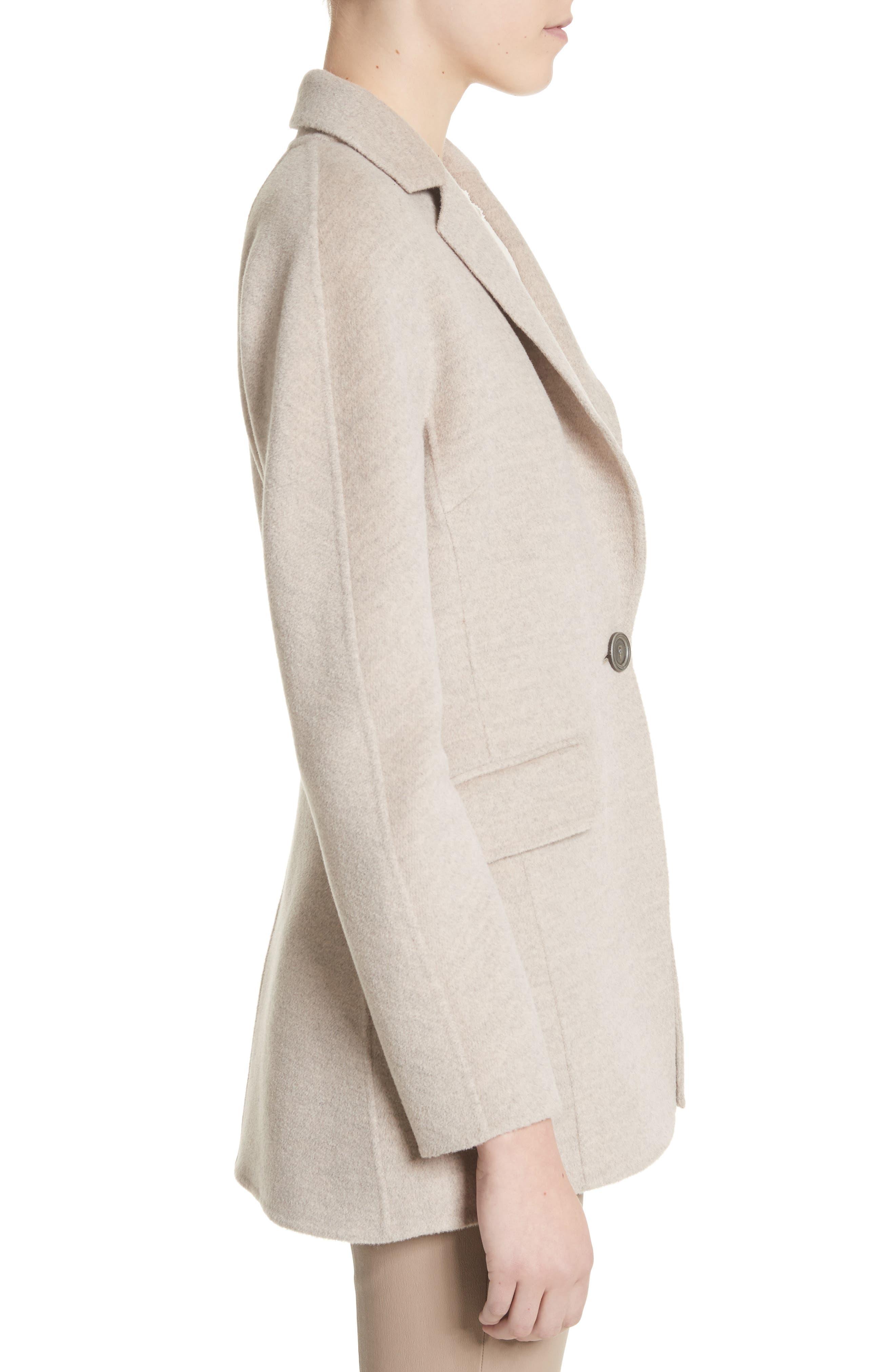 Double Face Wool, Angora & Cashmere Blend Blazer,                             Alternate thumbnail 3, color,                             205