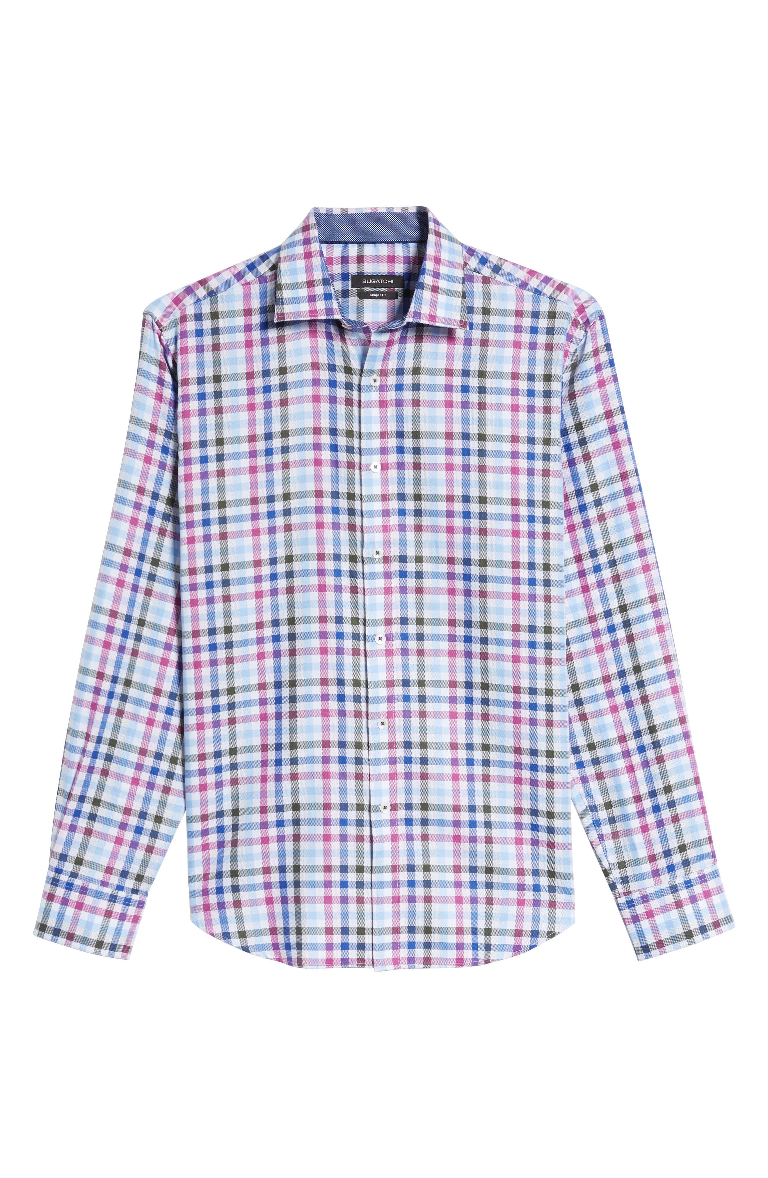 Shaped Fit Plaid Sport Shirt,                             Alternate thumbnail 6, color,                             537