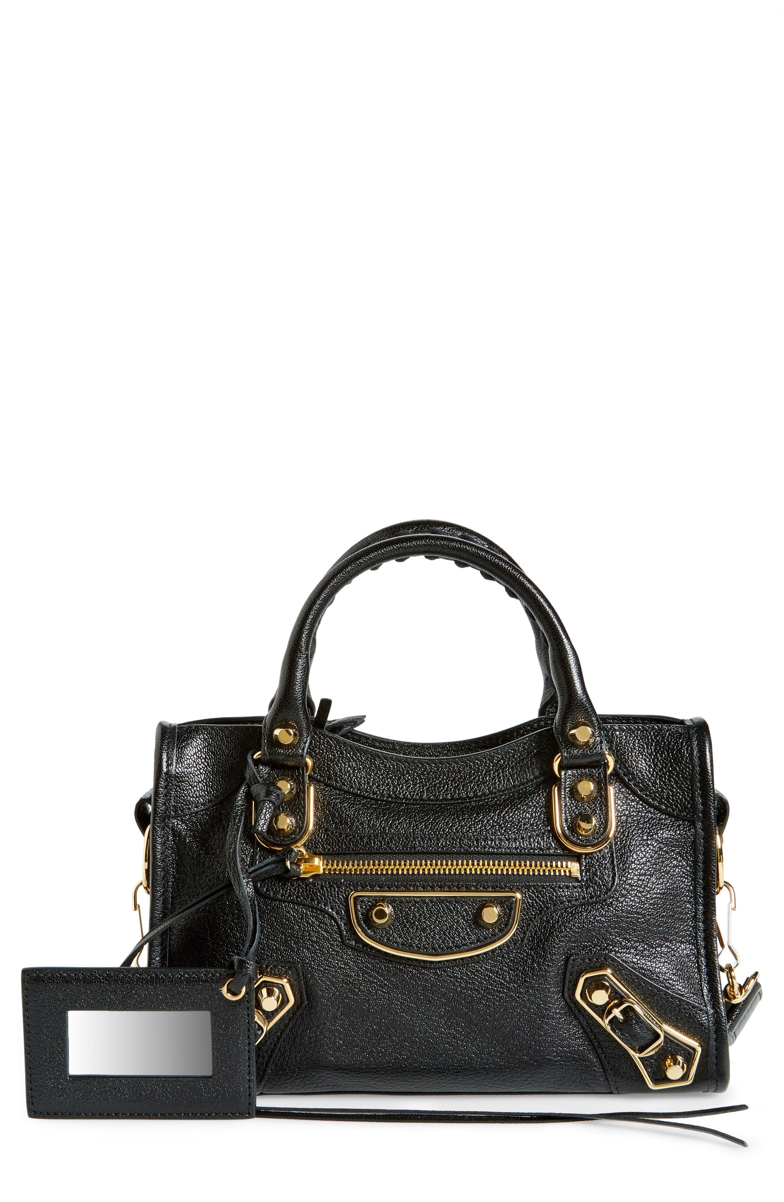 Metallic Edge Mini City Bag,                         Main,                         color, 1000 NOIR
