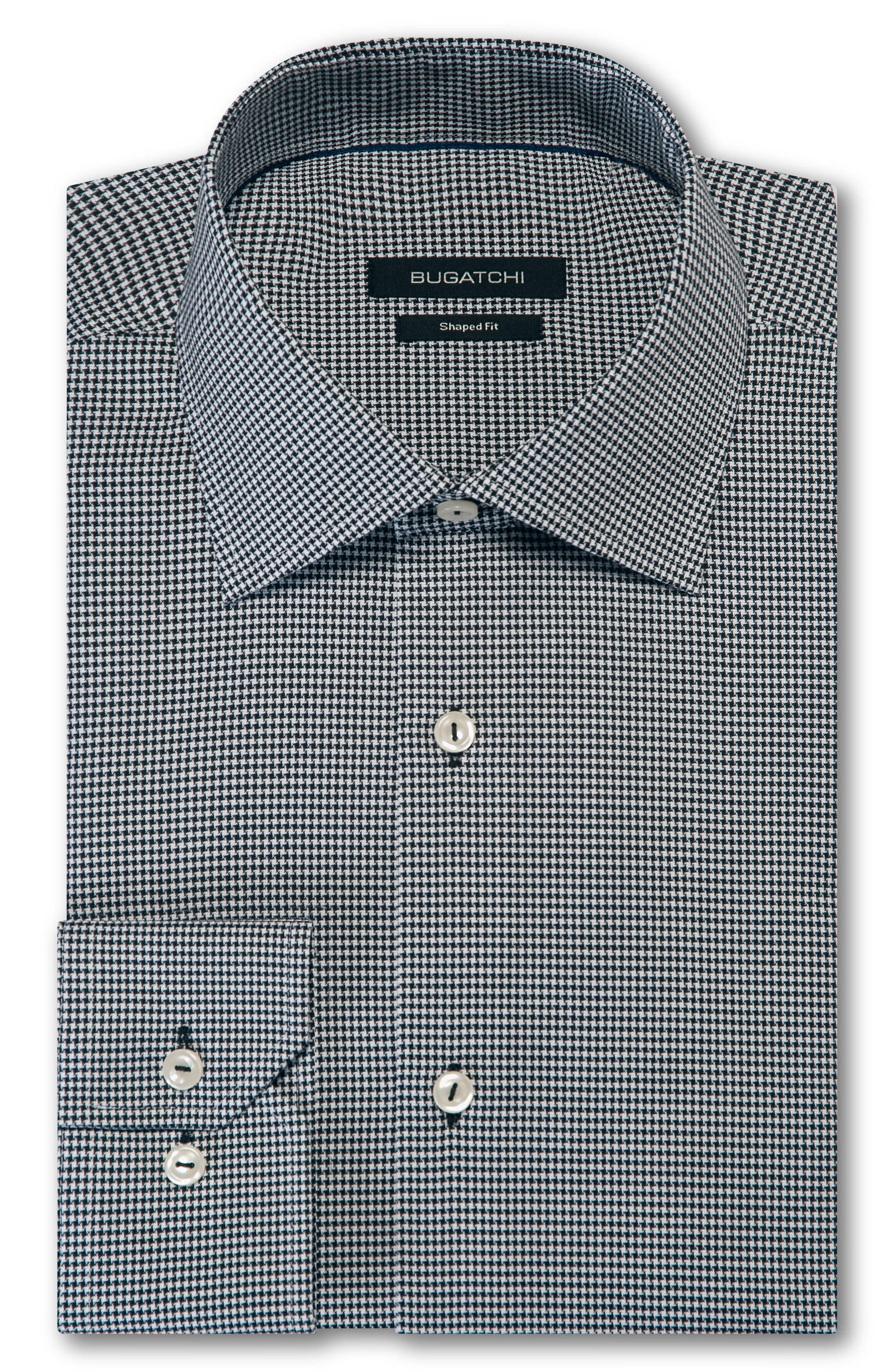 men's big & tall bugatchi trim fit houndstooth dress shirt, size 18 - black