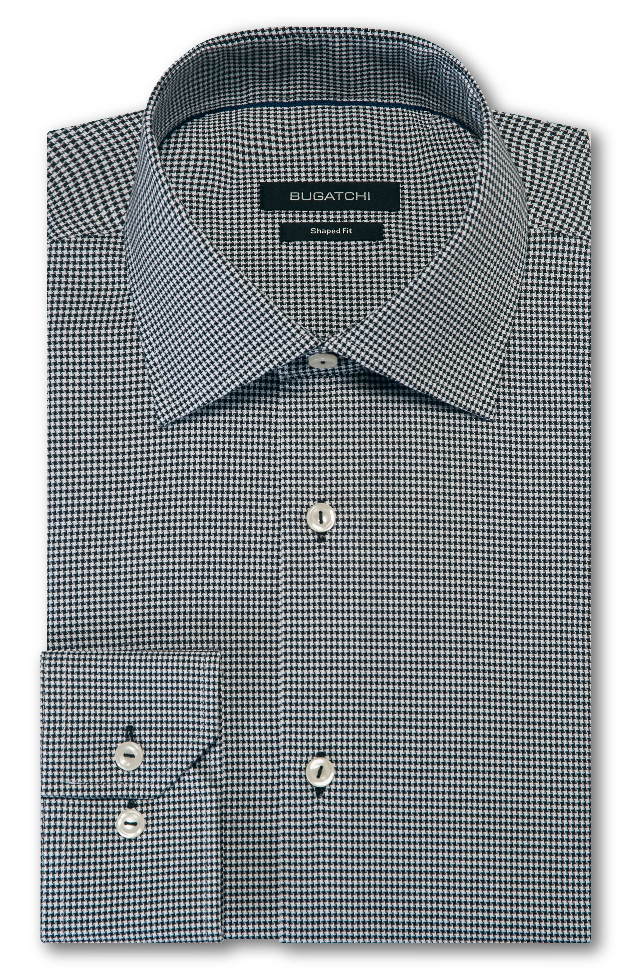 Trim Fit Houndstooth Dress Shirt,                             Main thumbnail 1, color,                             BLACK